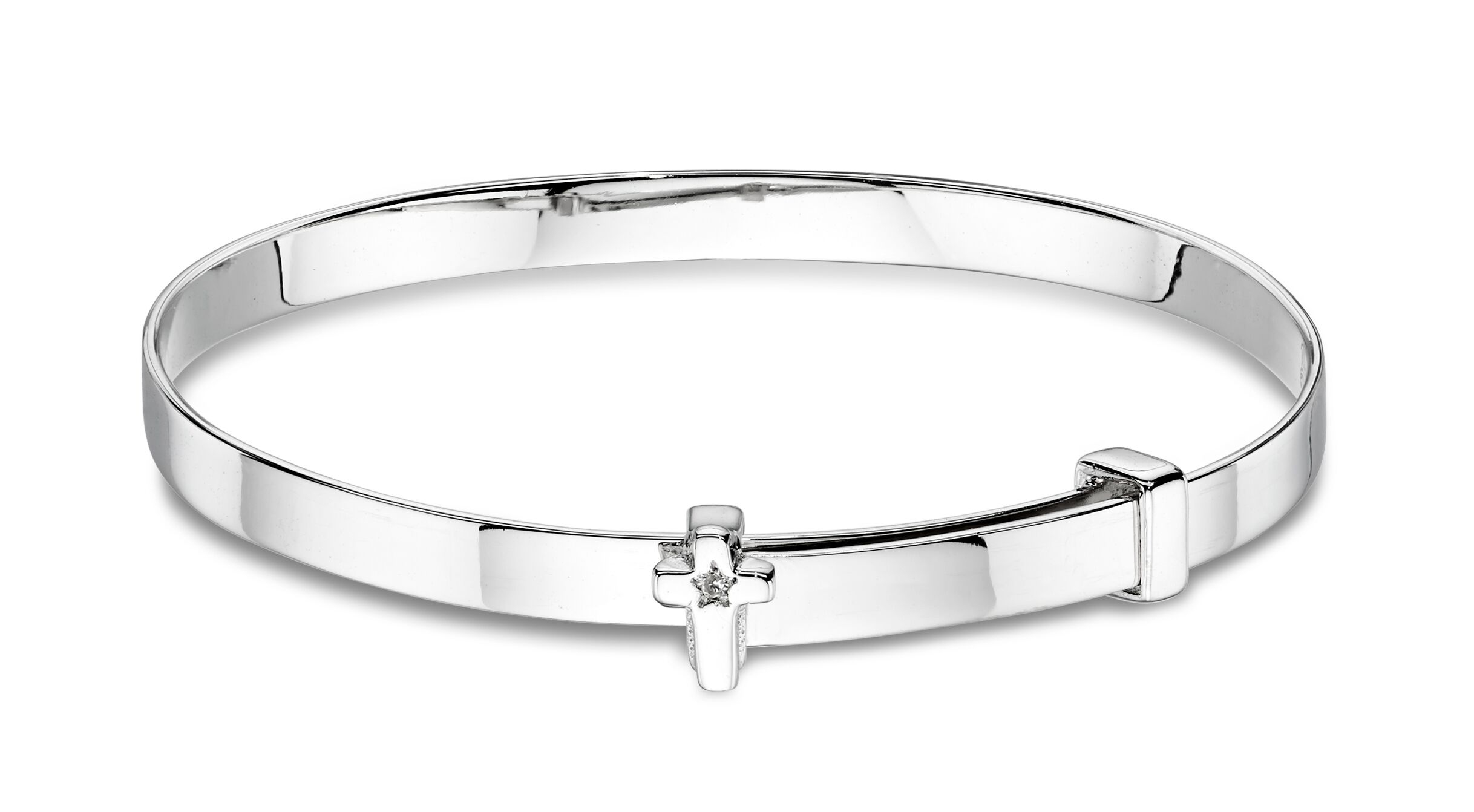 Honor Diamond Cross Baby Bangle-Carats Jewellers