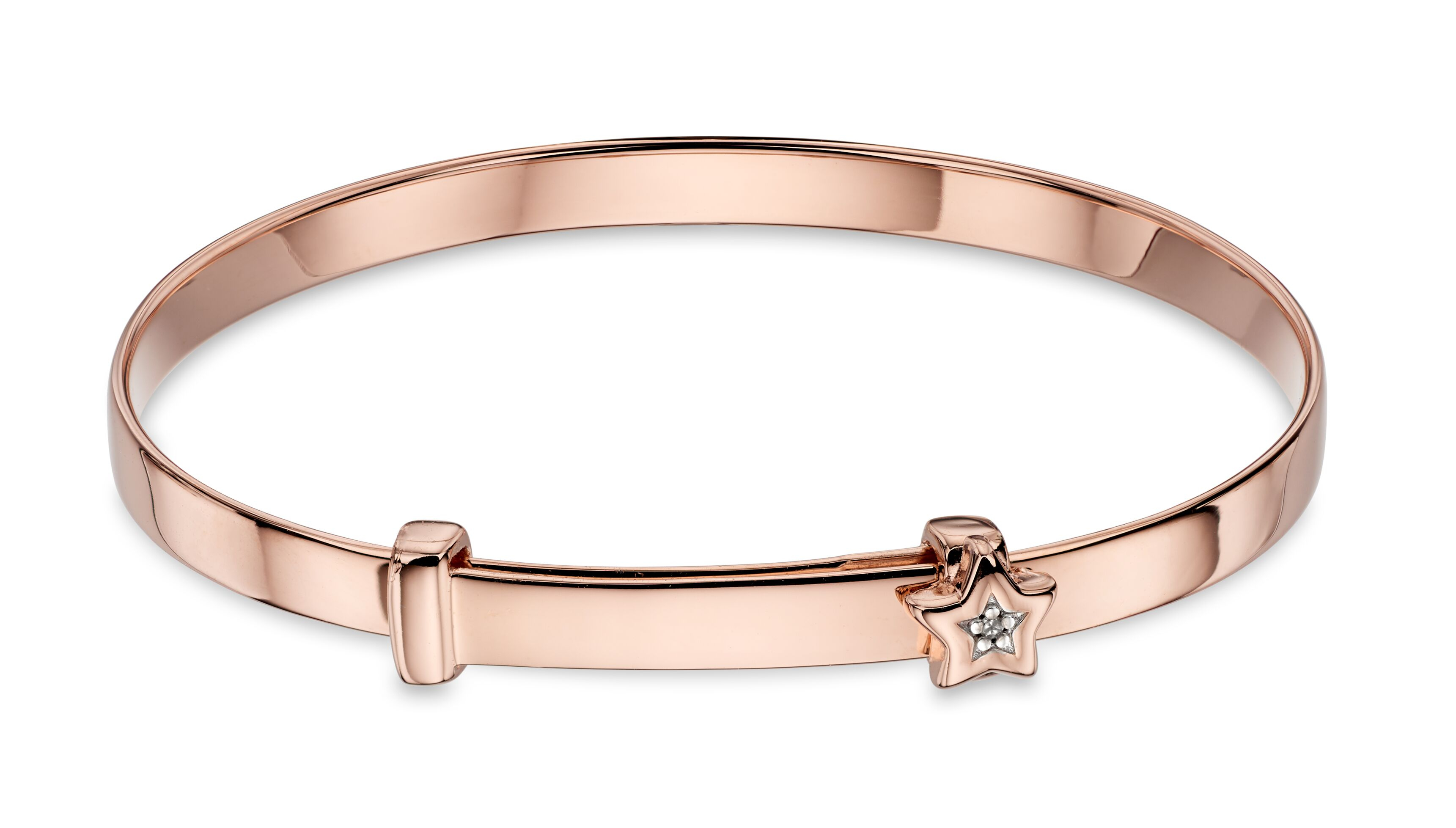 Gracie|Rose Gold Plated Diamond Star Christening Bangle-Carats Jewellers