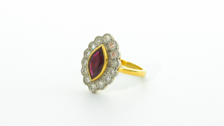 18ct Ruby and Diamond cluster ring in Ipswich, Suffolk