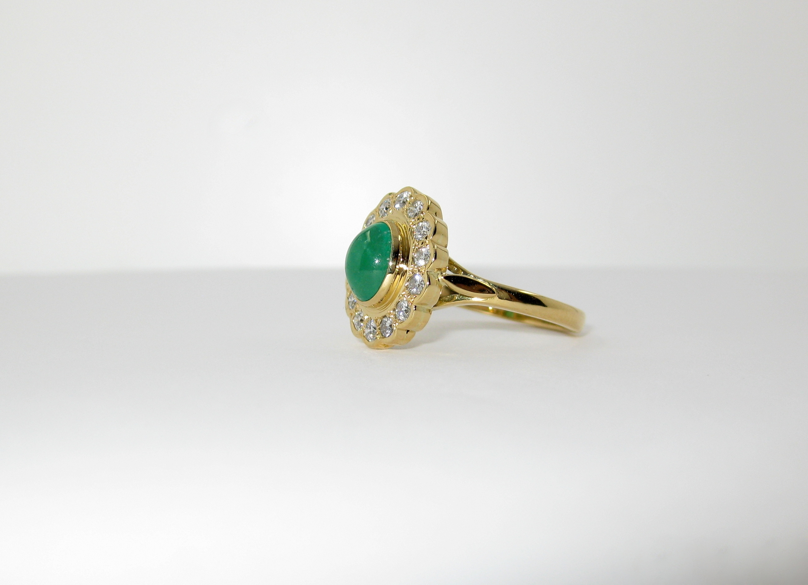 18ct yellow gold emerald and diamond cluster ring in Ipswich Suffolk