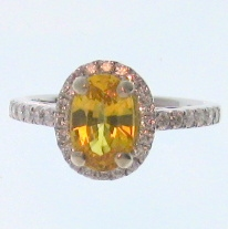 18ct white gold yellow sapphire and diamond cluster ring