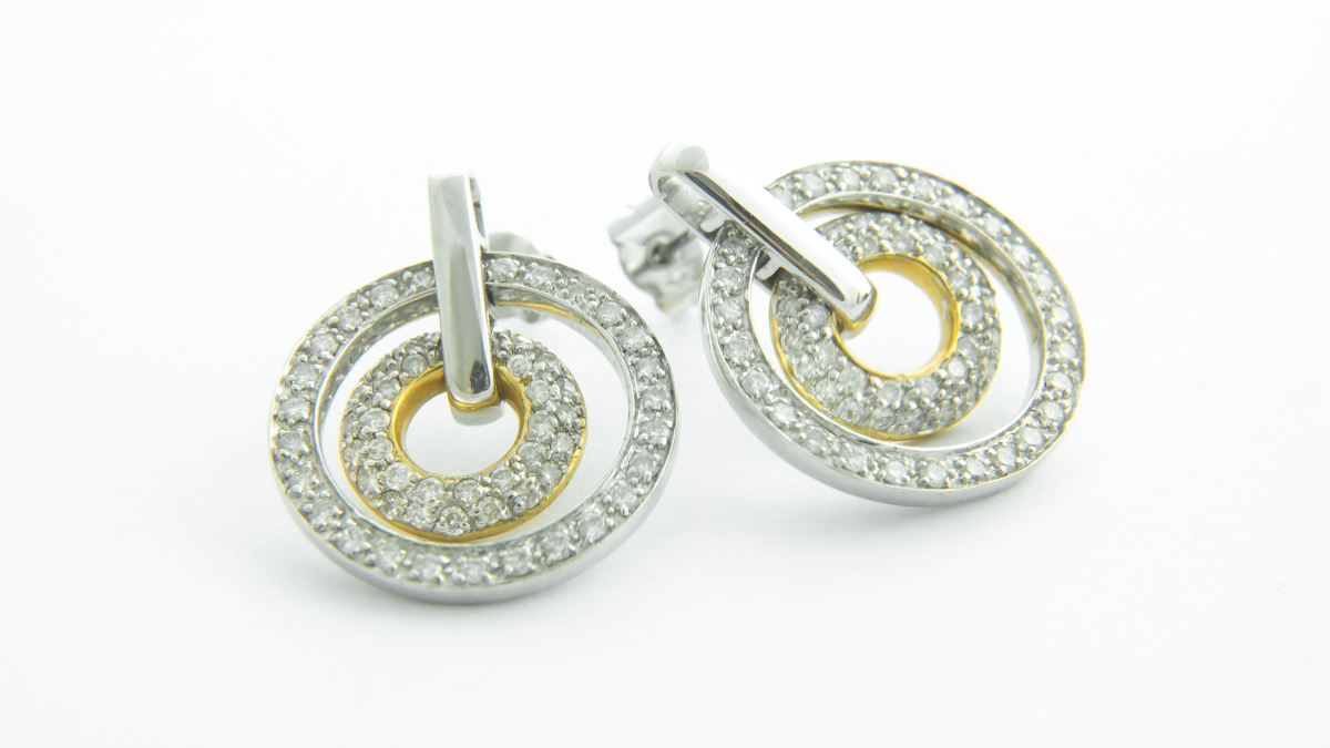 18ct white and yellow gold 2 circle diamond earrings in Ipswich, Suffolk
