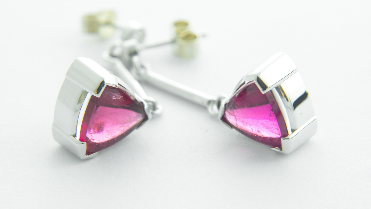9ct white gold pink tourmaline and diamond drop earrings in Ipswich, Suffolk