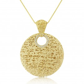 9ct yellow gold cubic zirconia circle pendant in Ipswich, Sufflok