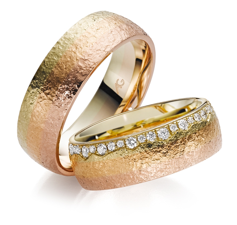 14ct multi coloured gold ladies 7mm Gerstner wedding band with diamonds in Ipswich, Suffolk