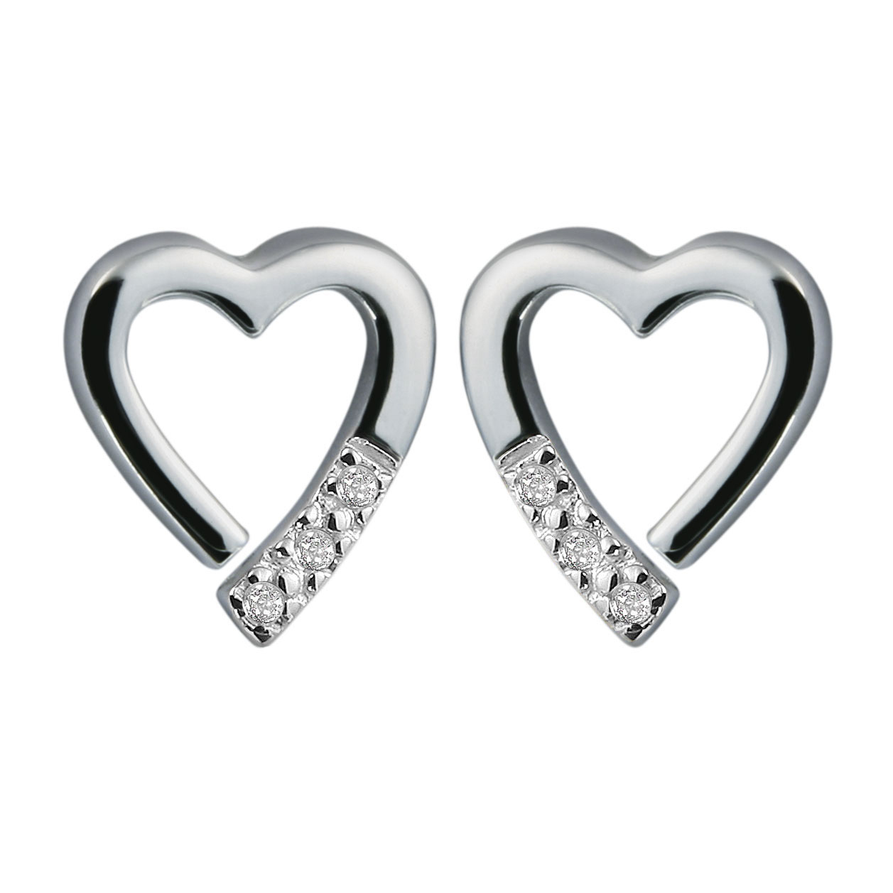Silver open heart and 3 diamond studs - Carats Jewellers