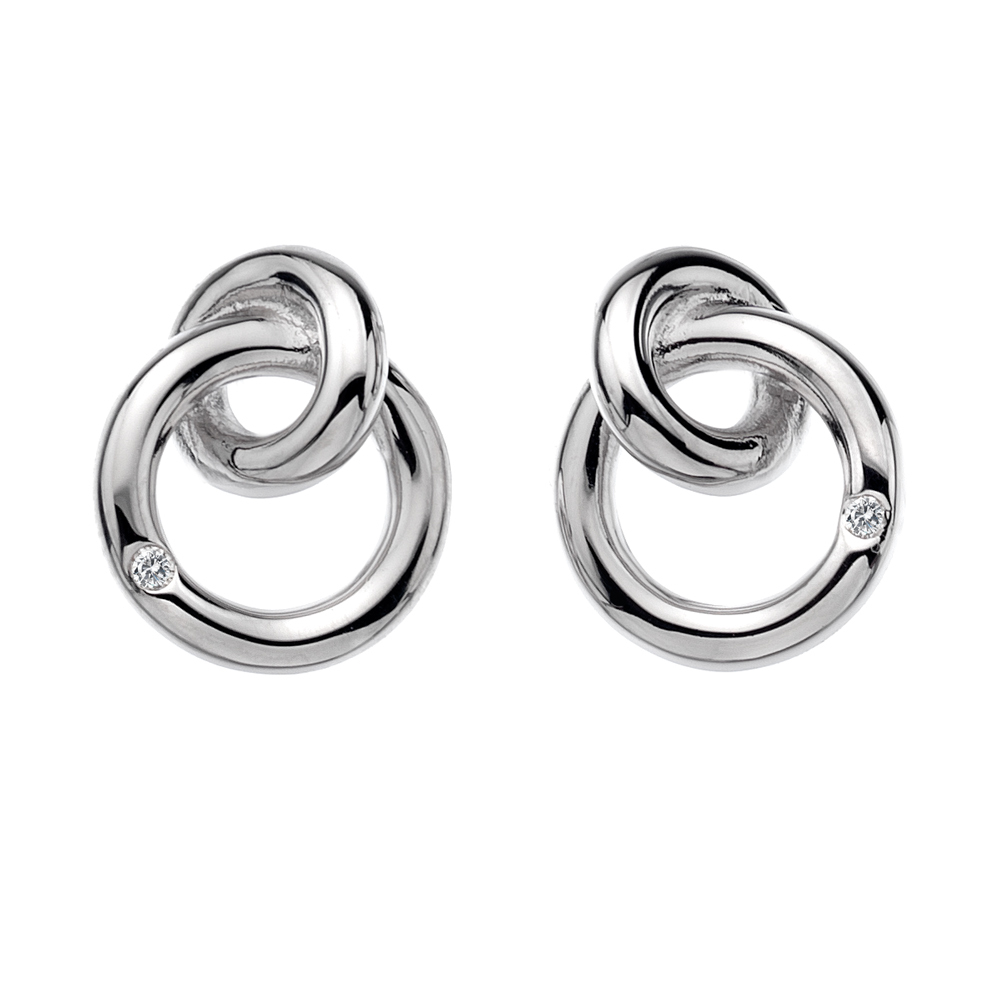 Silver 2 circle eternity studs - Carats Jewellers