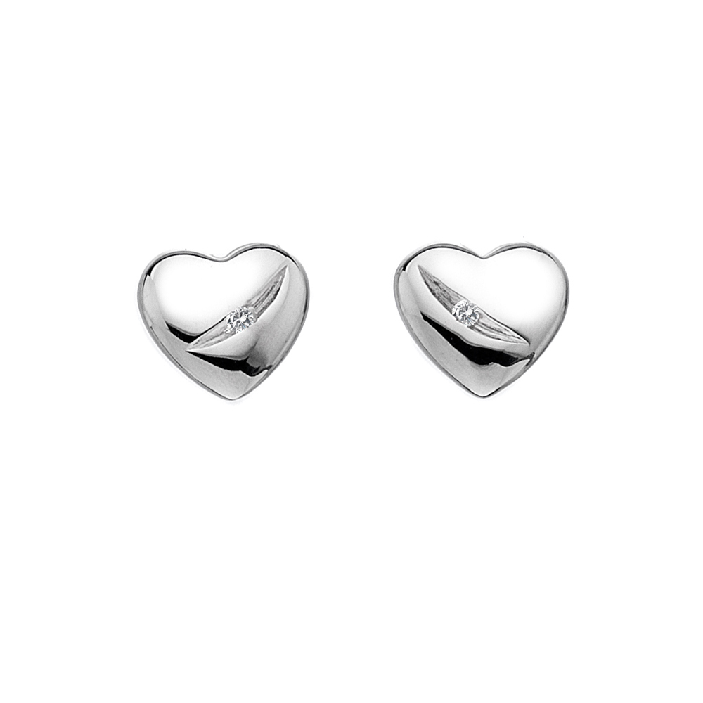 Silver Heart studs with diamond in a groove - Carats Jewellers