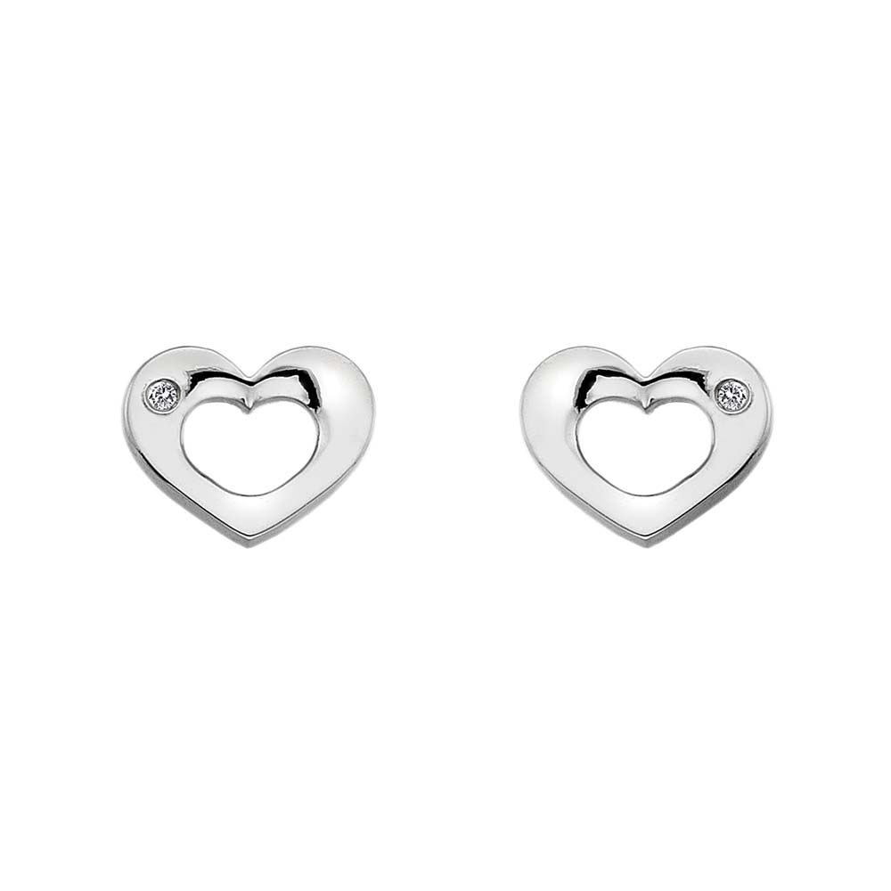 Silver open heart studs with diamonds - Carats Jewellers