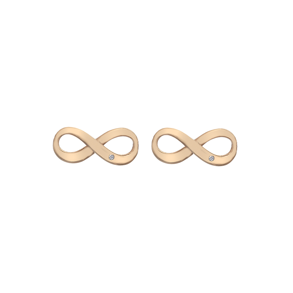 Silver Rose Gold Plated Infinity Studs - Carats Jewellers