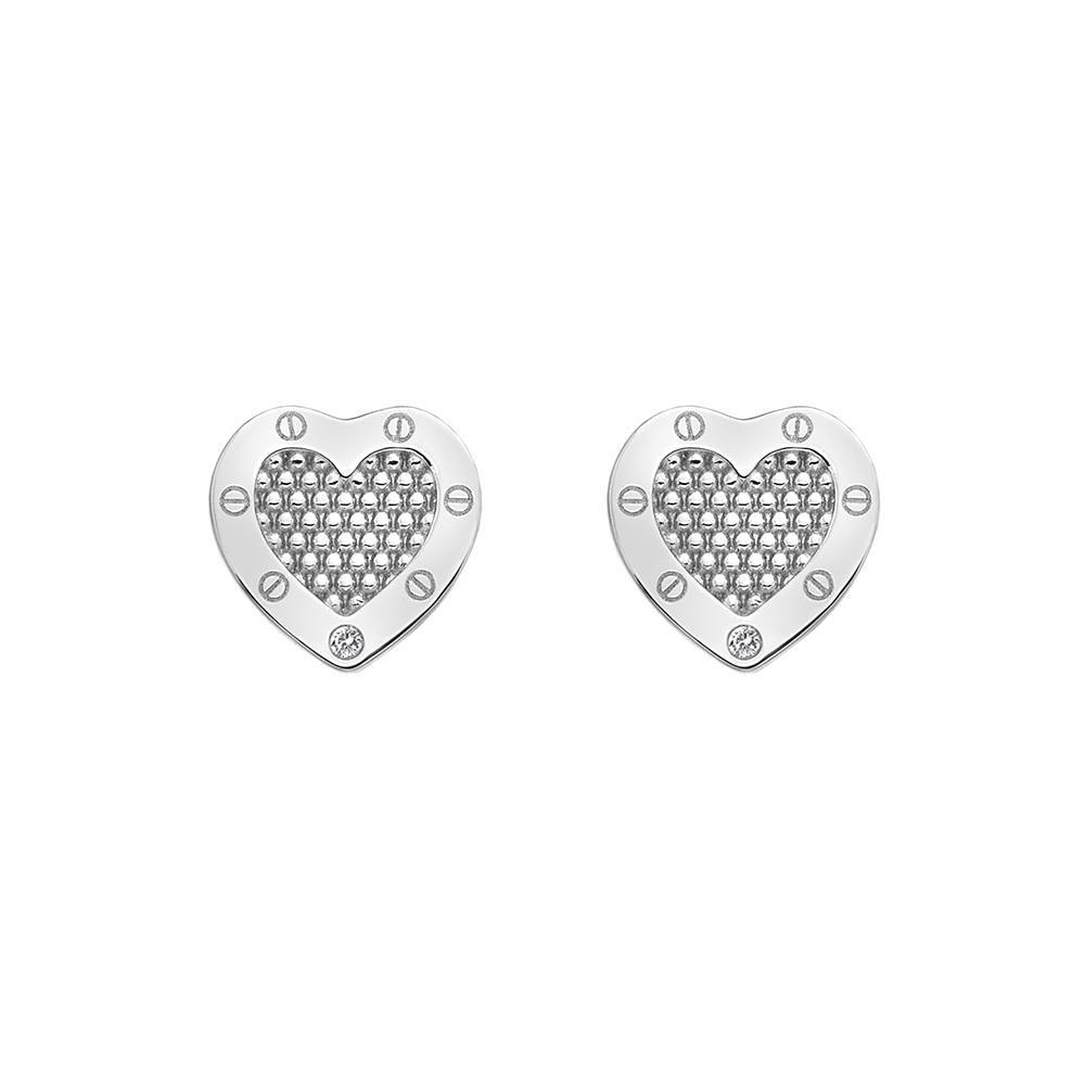 Silver bead mesh design heart studs - Carats Jewellers