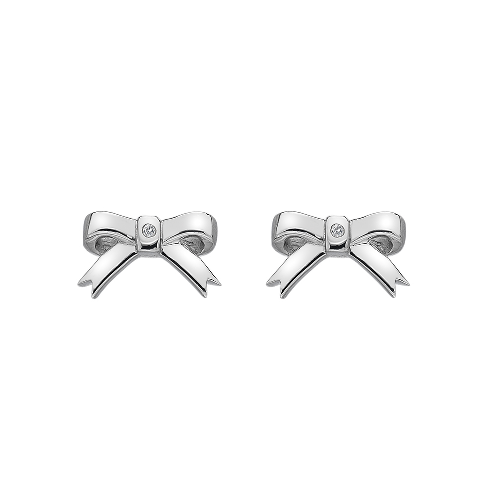Silver Ribbon and diamond studs - Carats Jewellers
