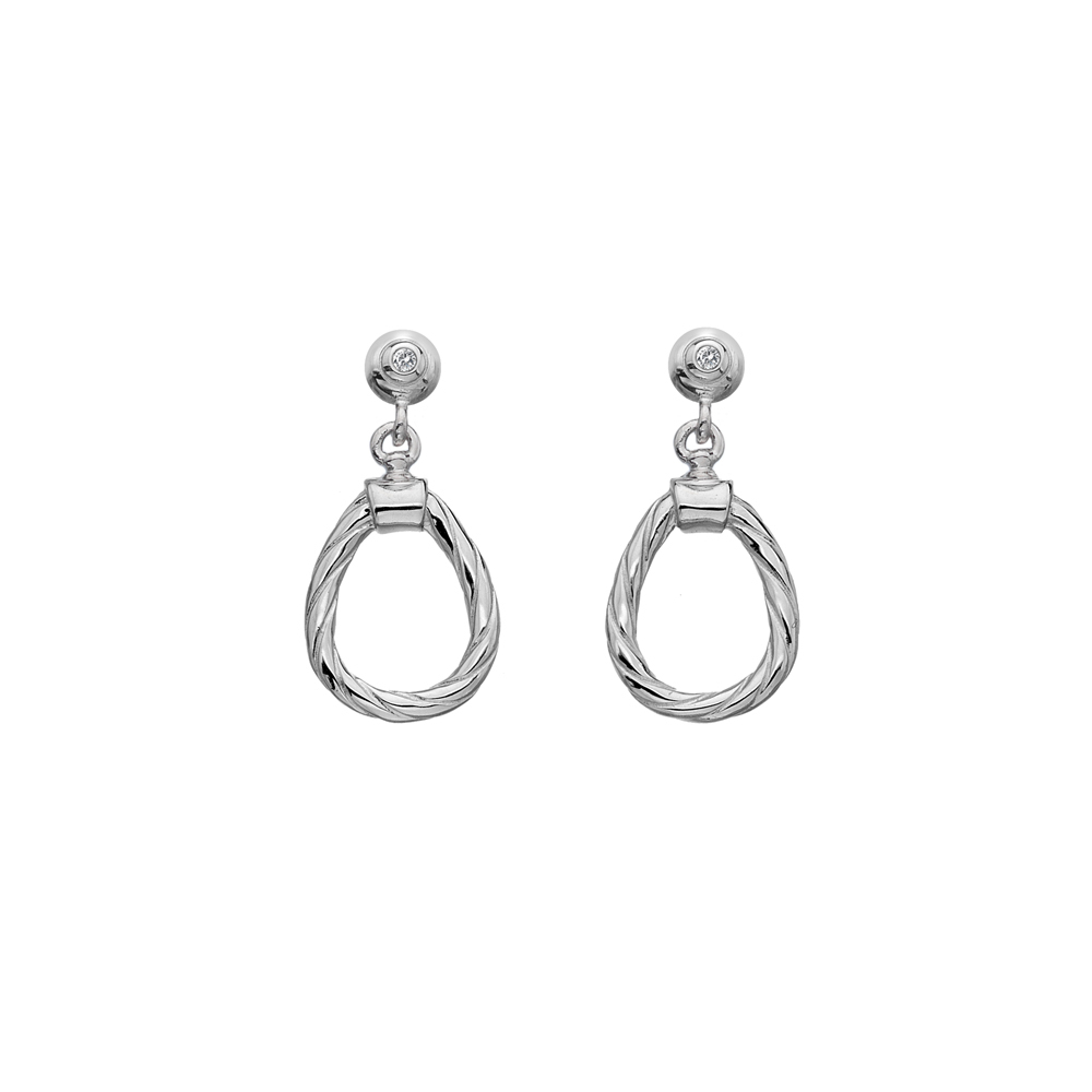 Silver twisted pear shaped wire studs - Carats Jewellers