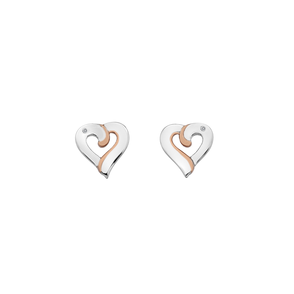 Silver and rose gold plated heart studs - Carats Jewellers
