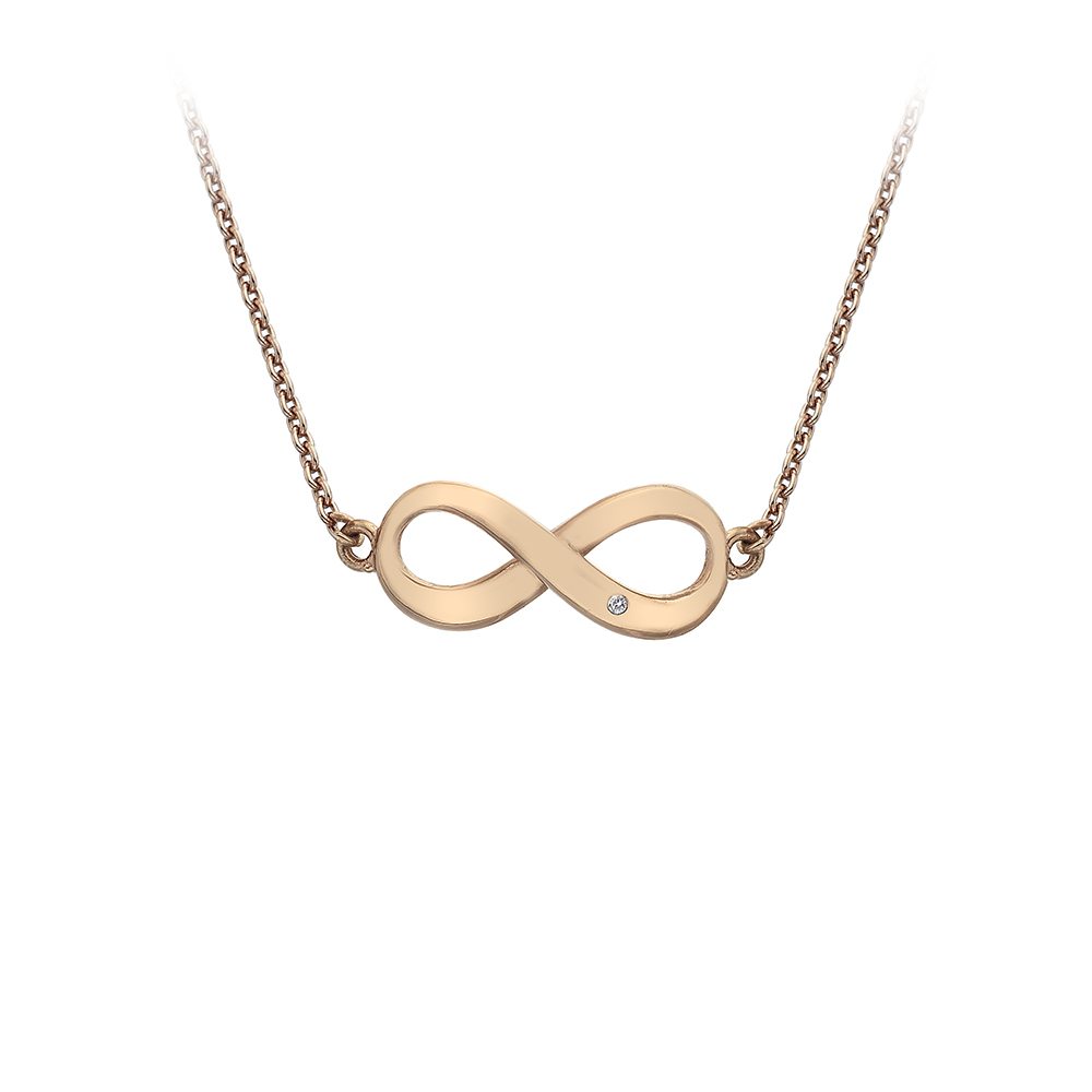 Silver Rose Gold Plated Infinity Necklace - Carats Jewellers