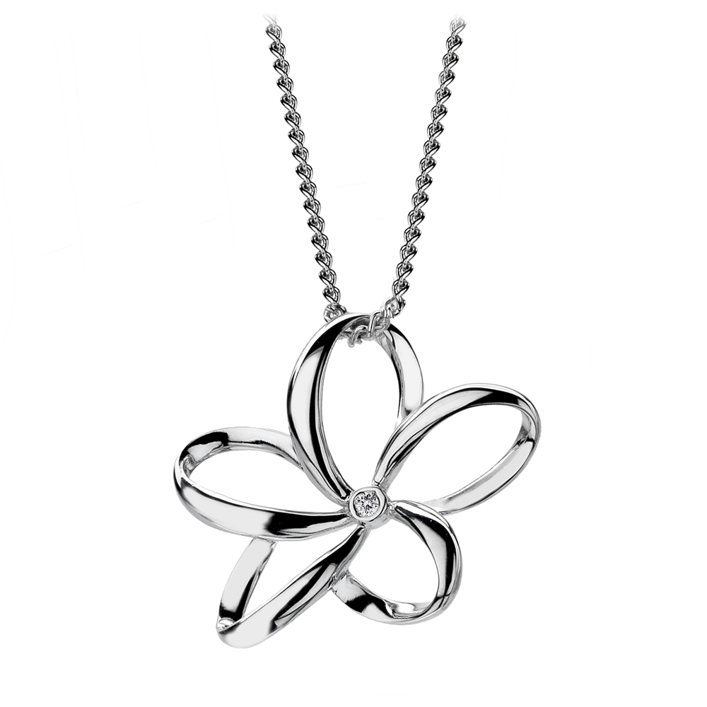Silver flower and diamond pendant - Carats Jewellers
