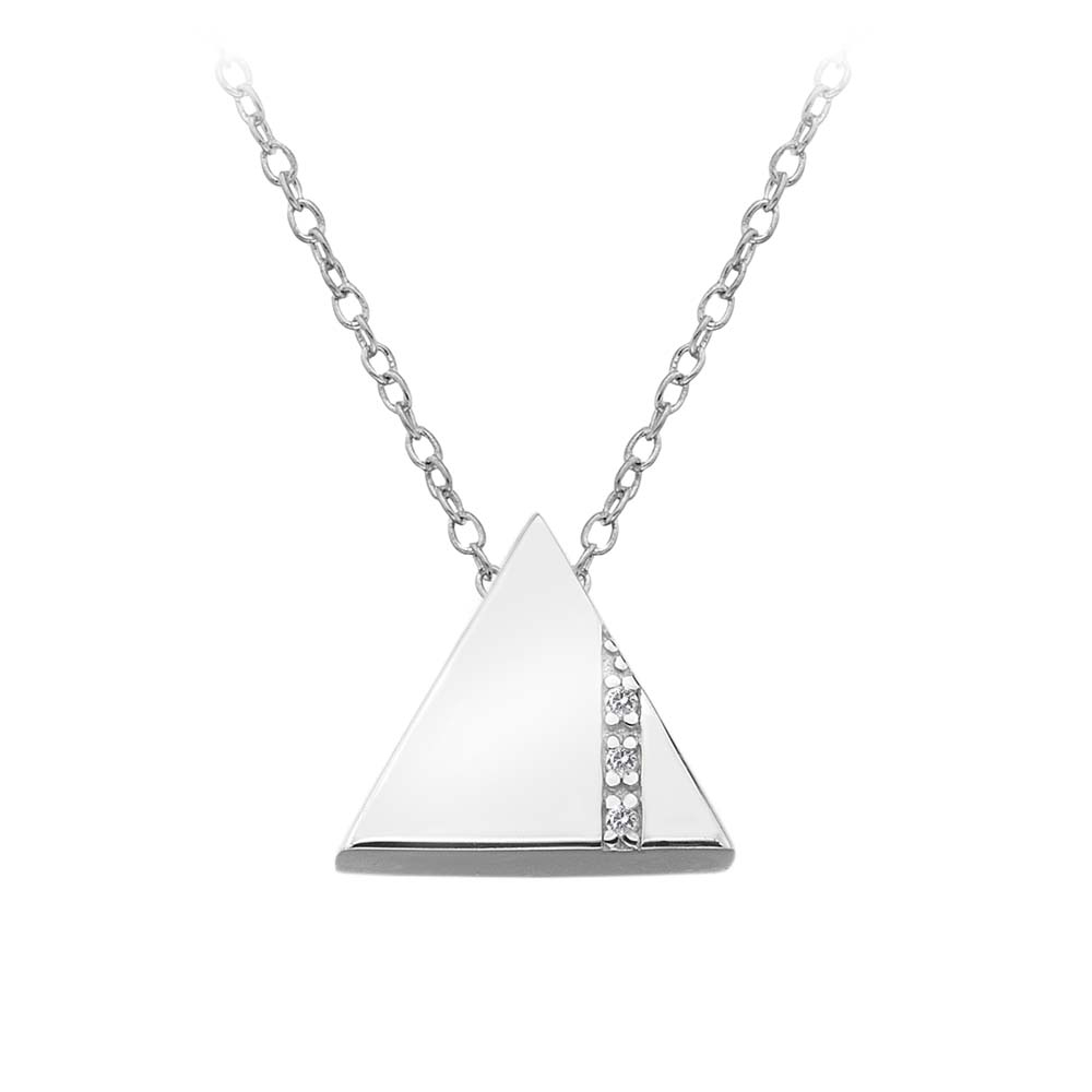 Silver triangle with diamond necklace - Carats Jewellers