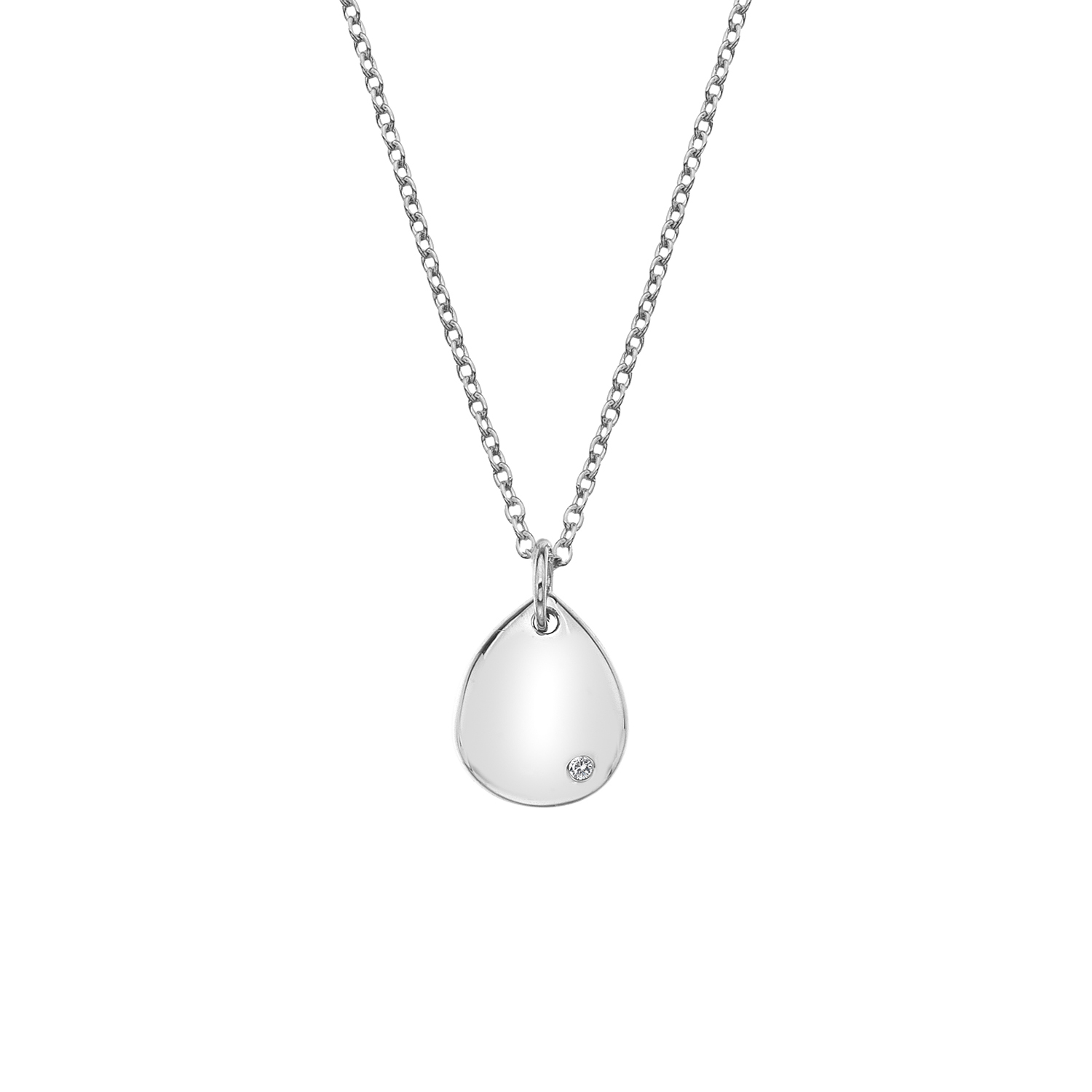 Silver pear shaped domed pendant - Carats Jewellers