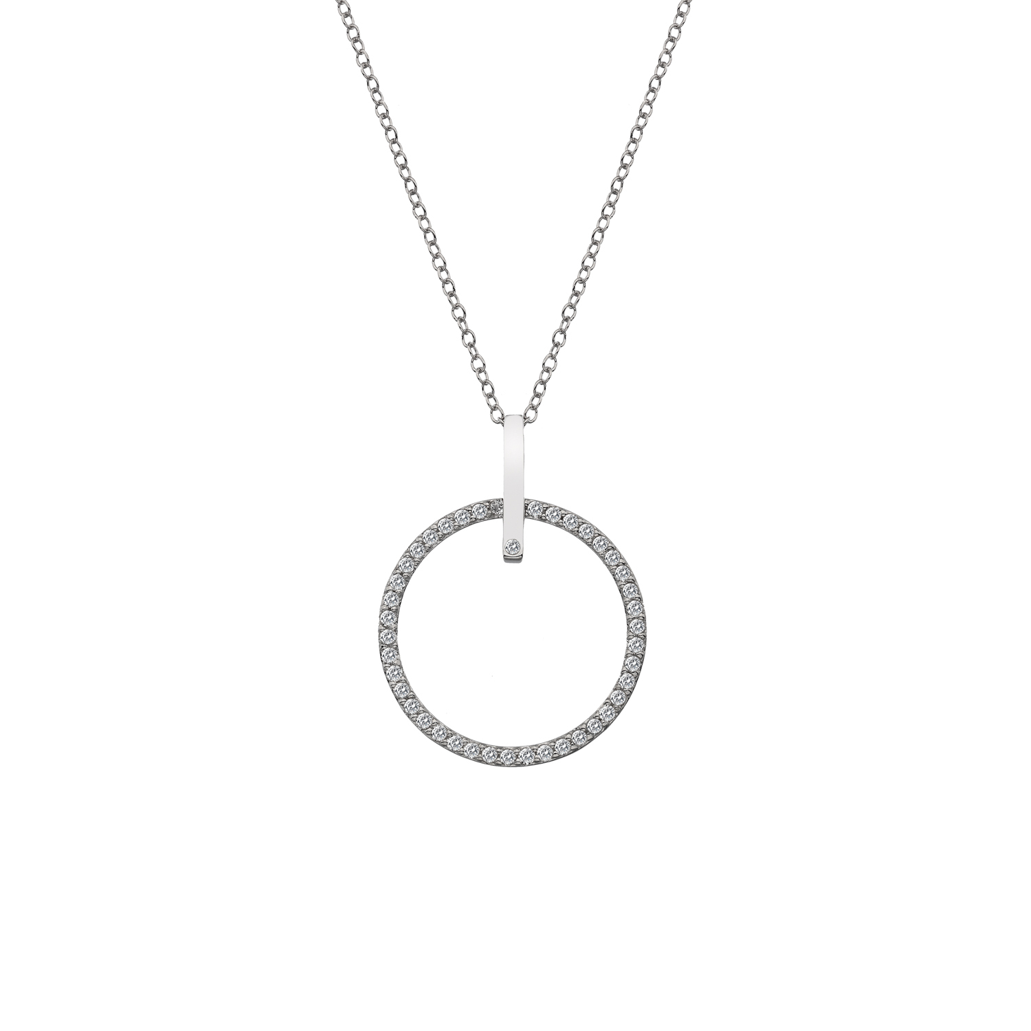 Silver large white topaz polo necklace - Carats Jewellers