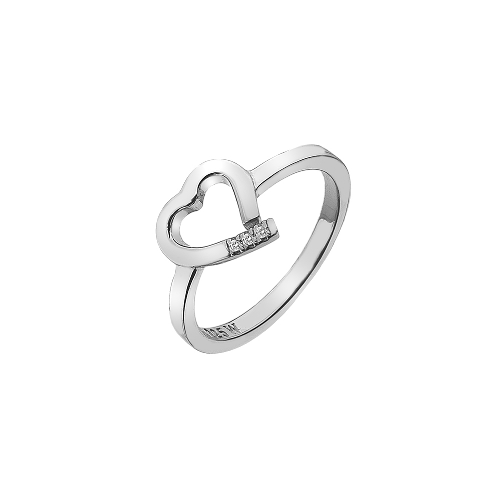 Silver open heart 3 diamond ring - Carats Jewellers