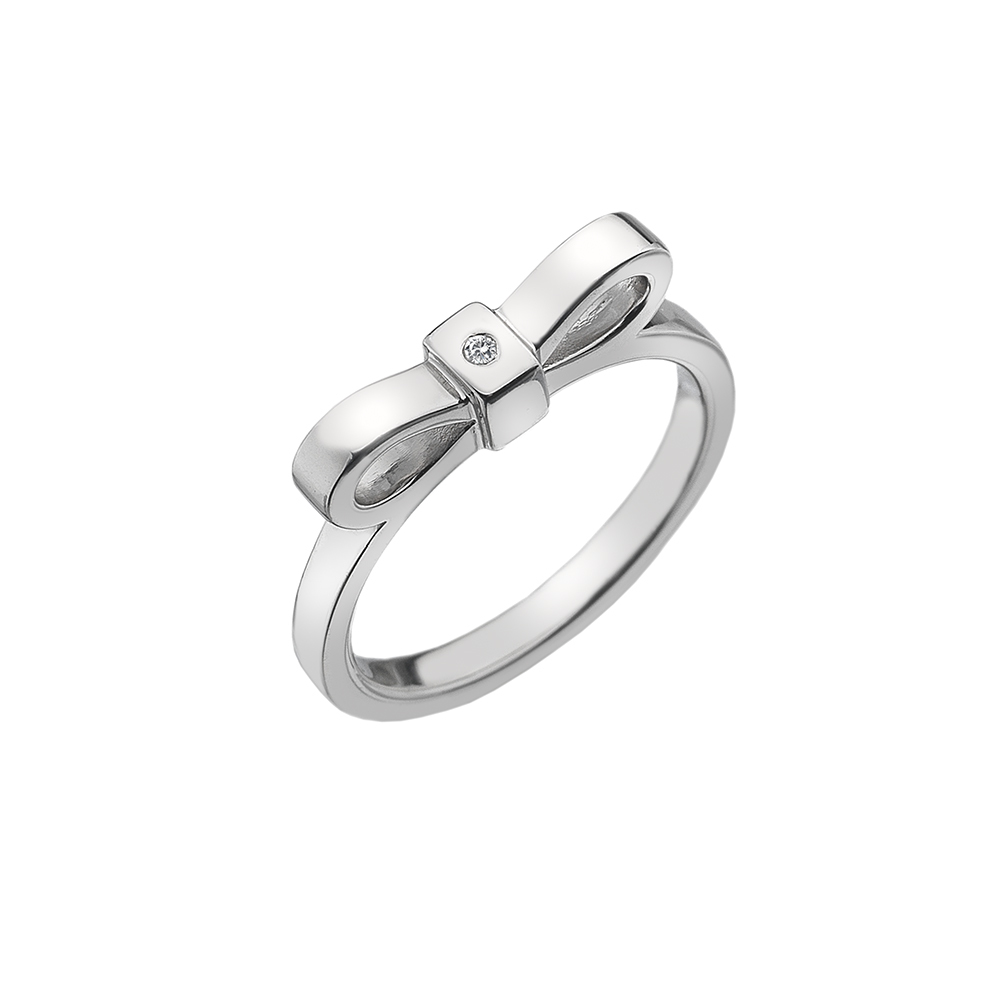 Silver and diamond bow ring - Carats Jewellers