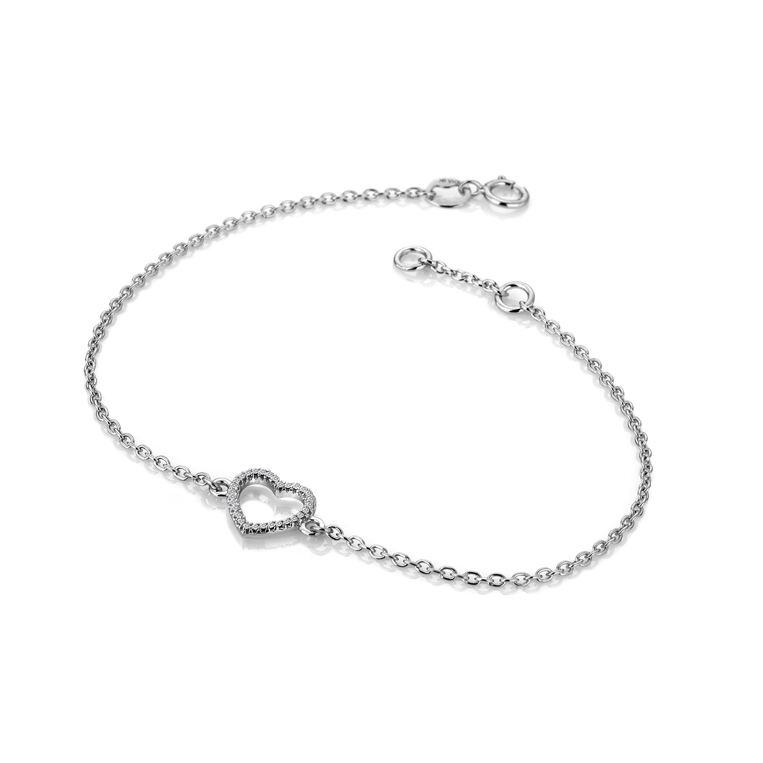 9ct white gold diamond heart bracelet - Carats Jewellers