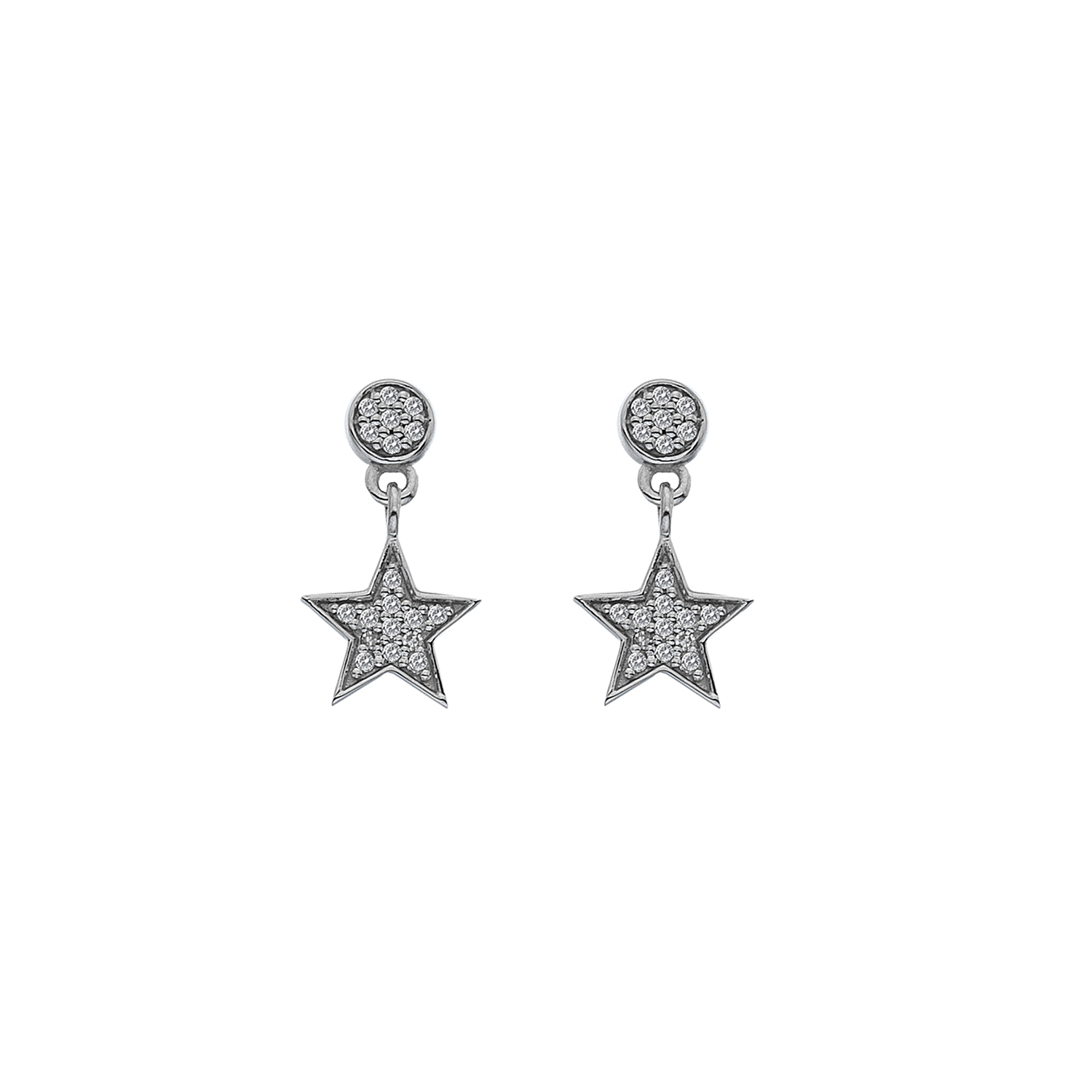 9ct white gold diamond star drops - Carats Jewellers