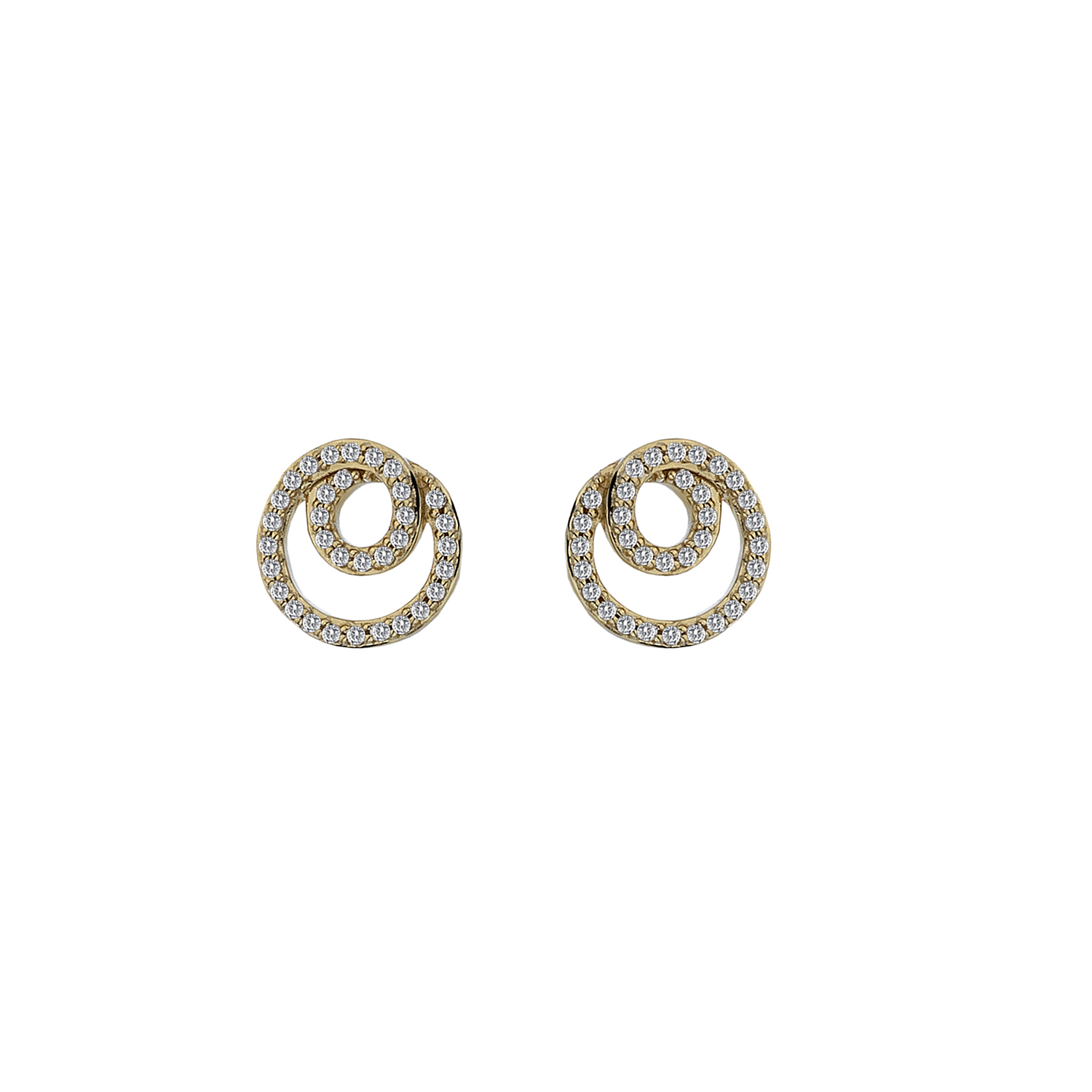9ct yellow gold diamond swirl studs - Carats Jewellers