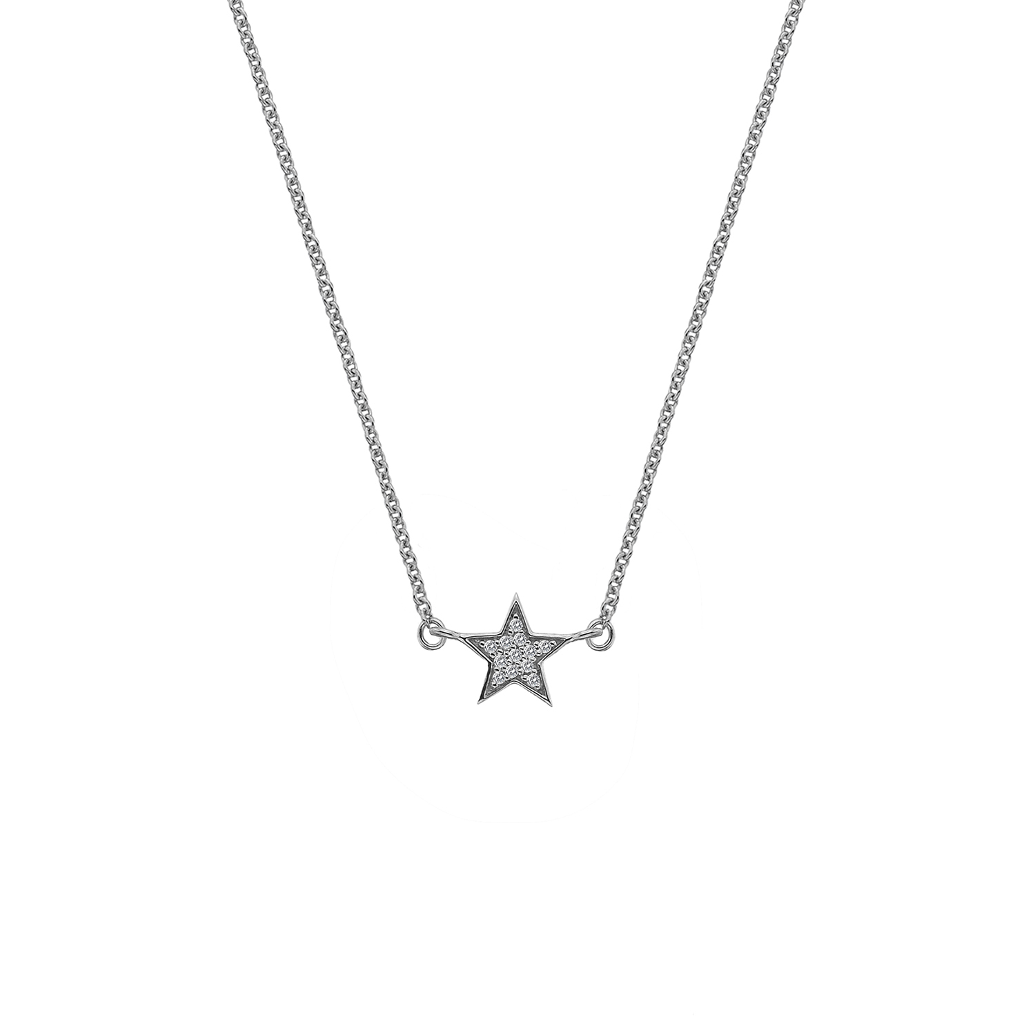 9ct white gold diamond star necklace - Carats Jewellers