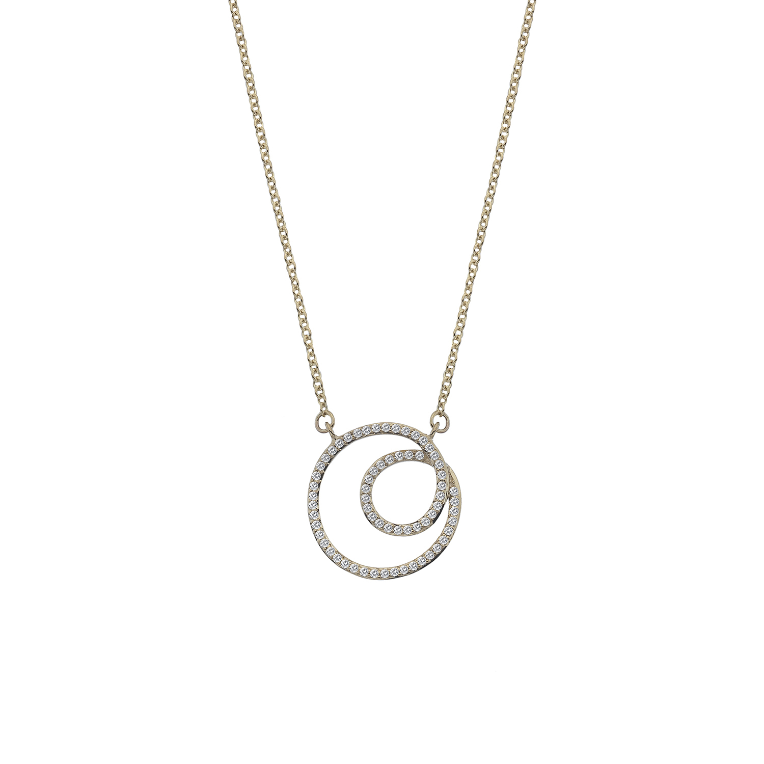 9ct yellow gold diamond swirl necklace - Carats Jewellers