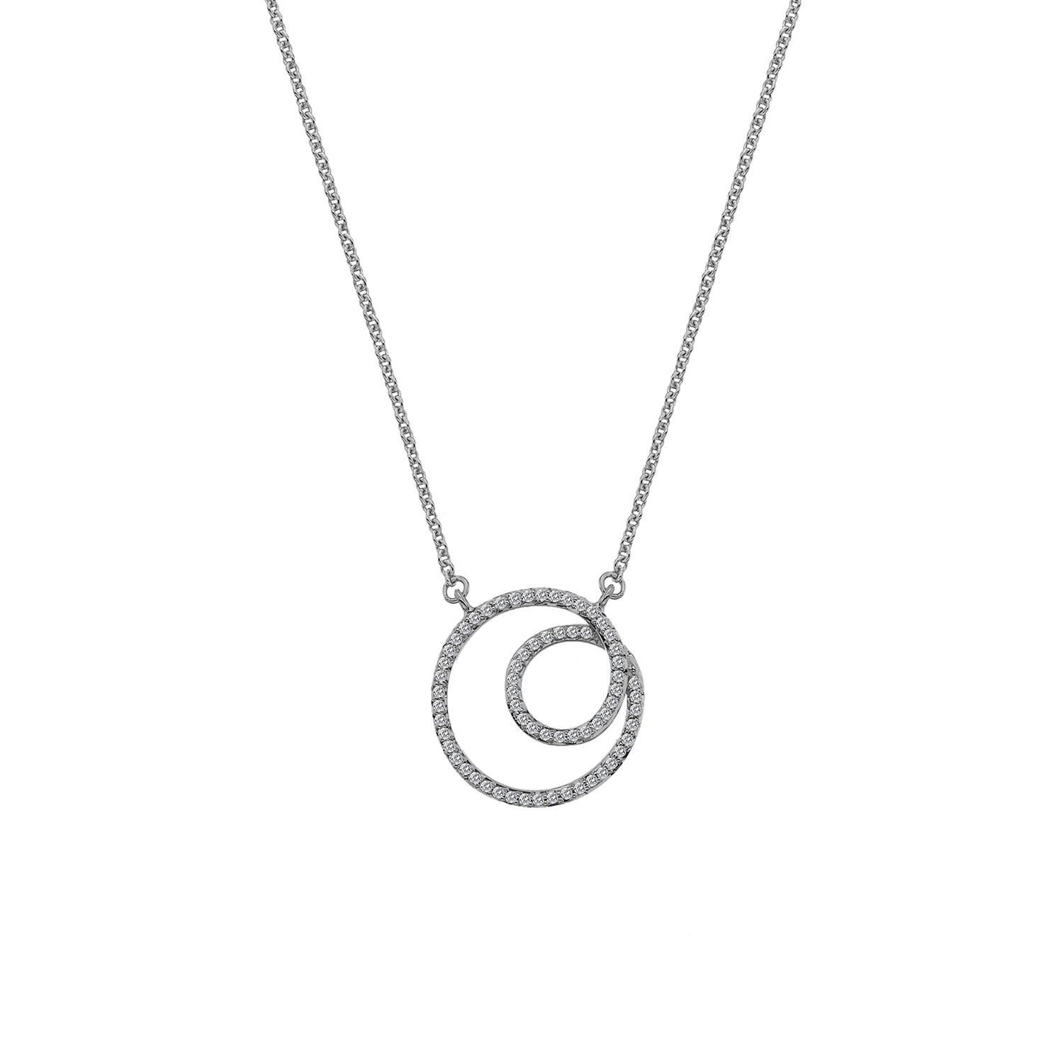 9ct white gold diamond swirl necklace - Carats Jewellers