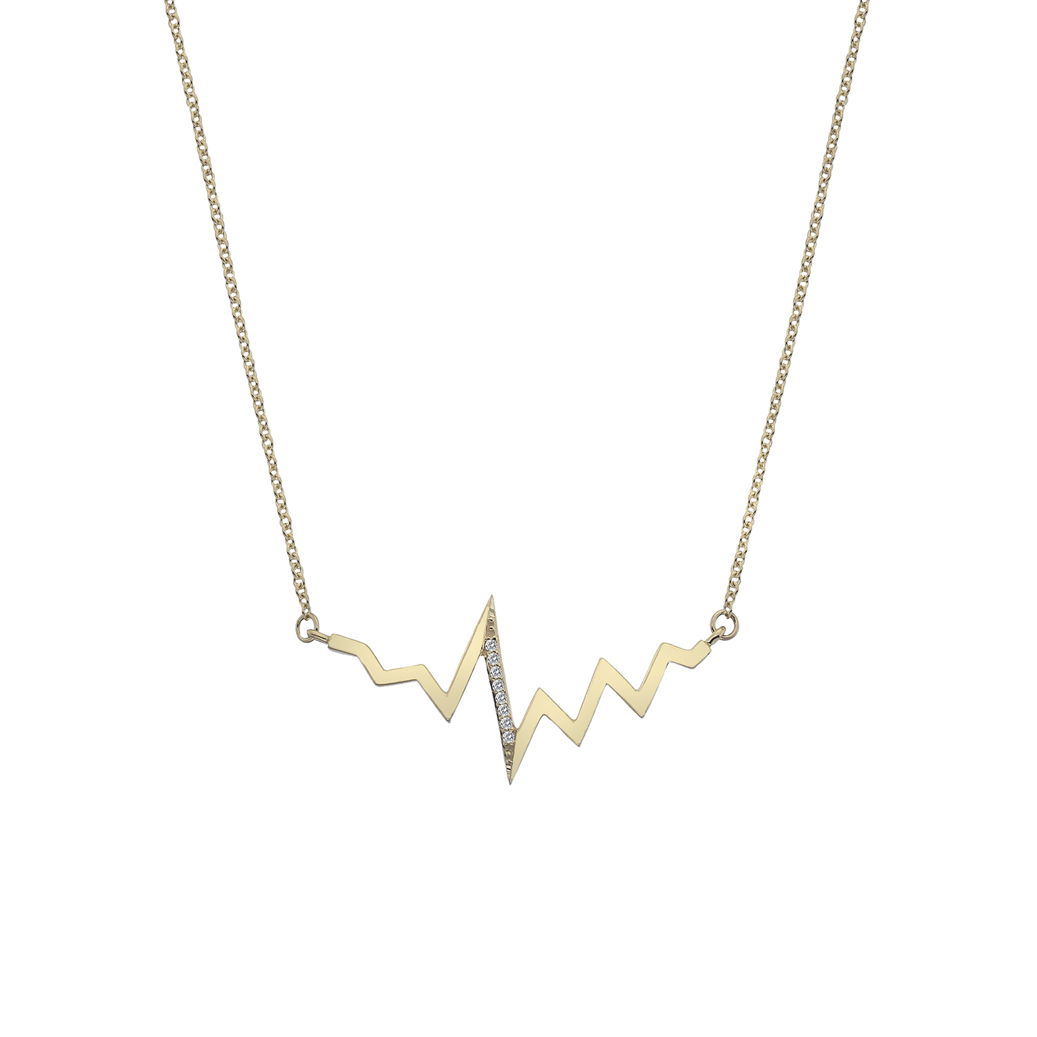 9ct yellow gold heartbeat necklace - Carats Jewellers