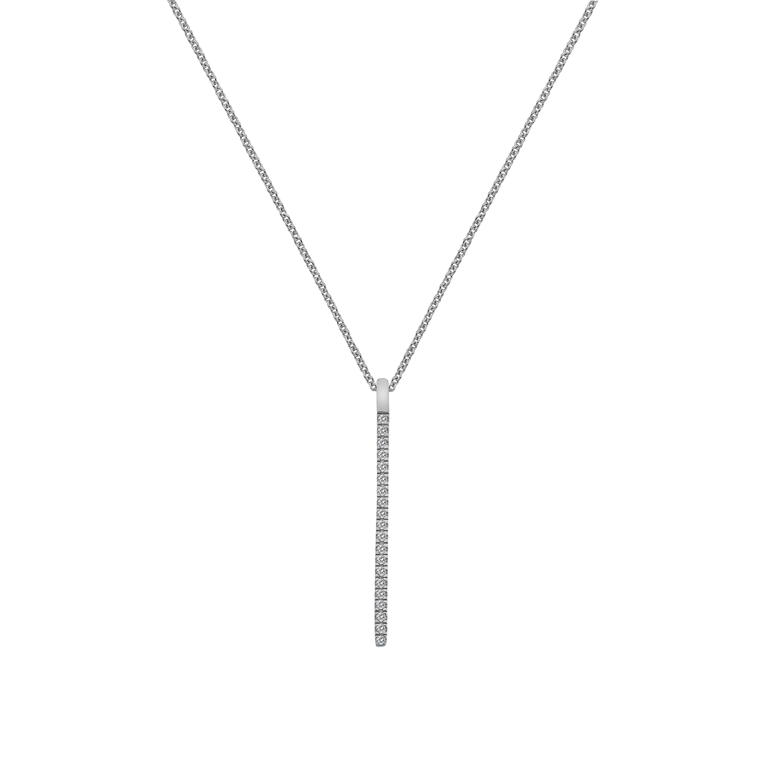 9ct white gold diamond bar pendant - Carats Jewellers