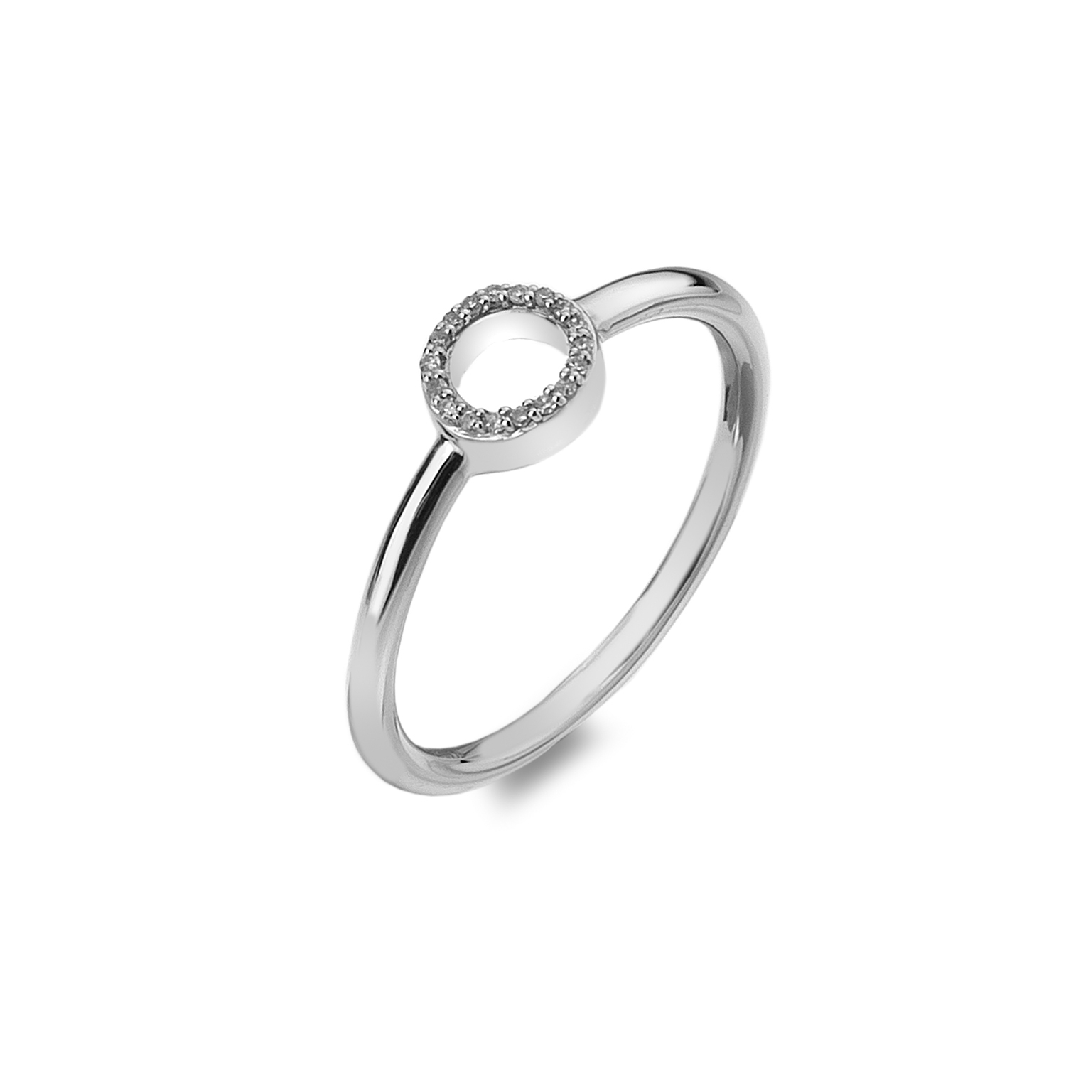 9ct white gold diamond polo ring - Carats Jewellers