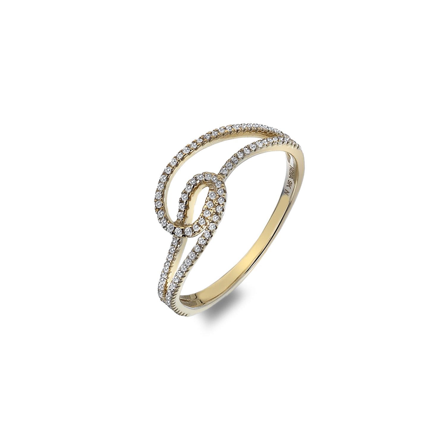 9ct yellow gold double linked loop ring - Carats Jewellers