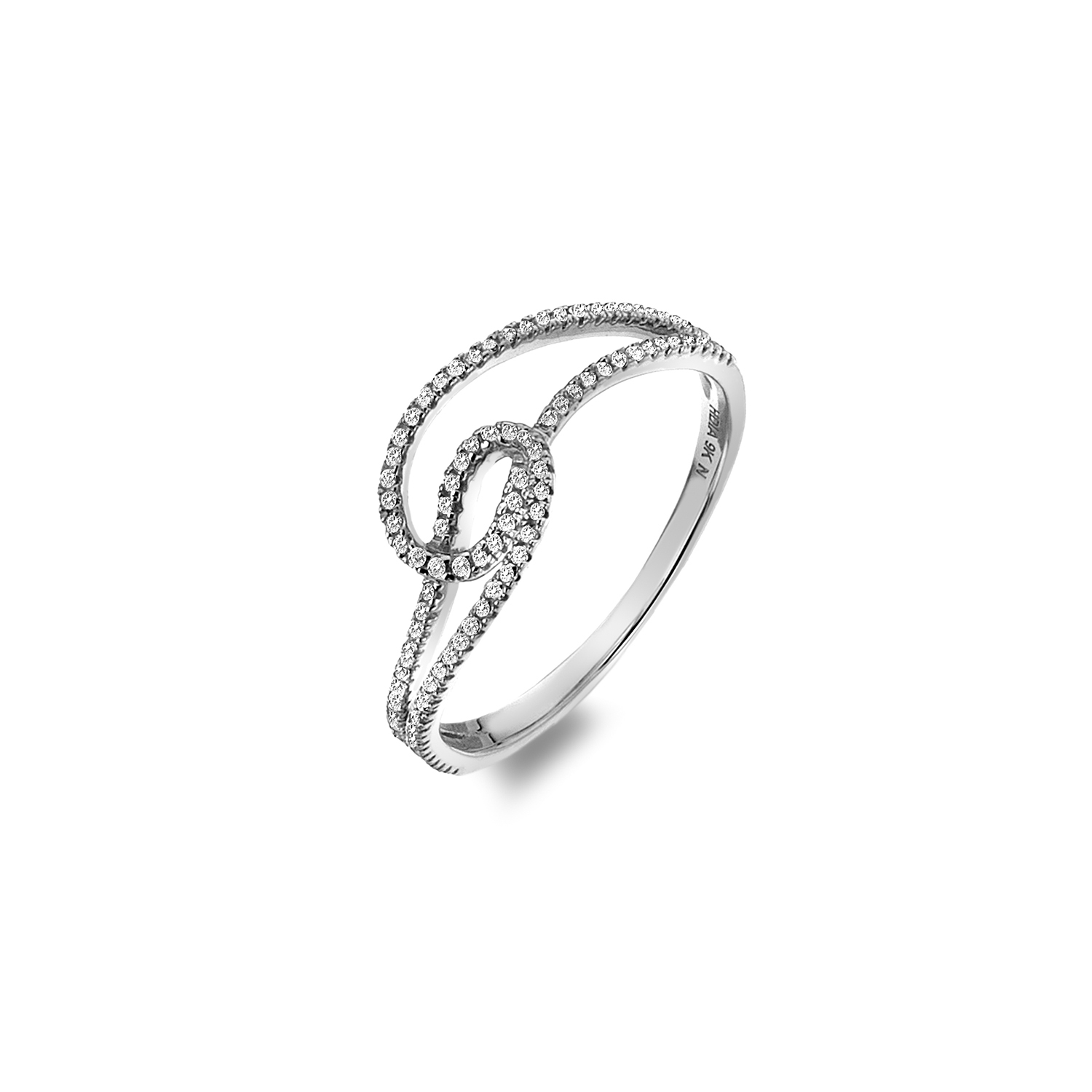 9ct white gold double loop diamond ring - Carats Jewellers
