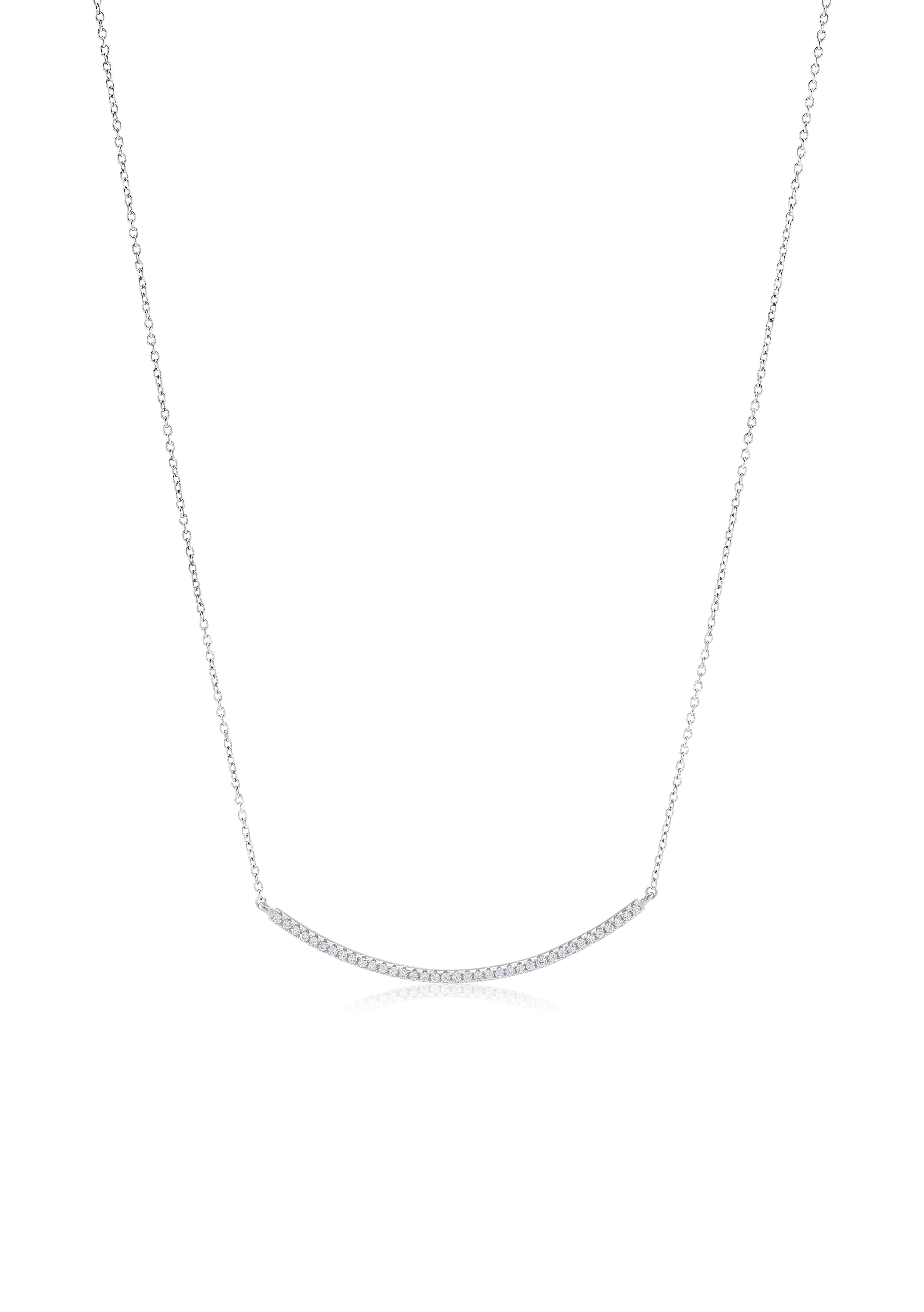 Silver cubic zirconia curved bar necklace-Carats Jewellers