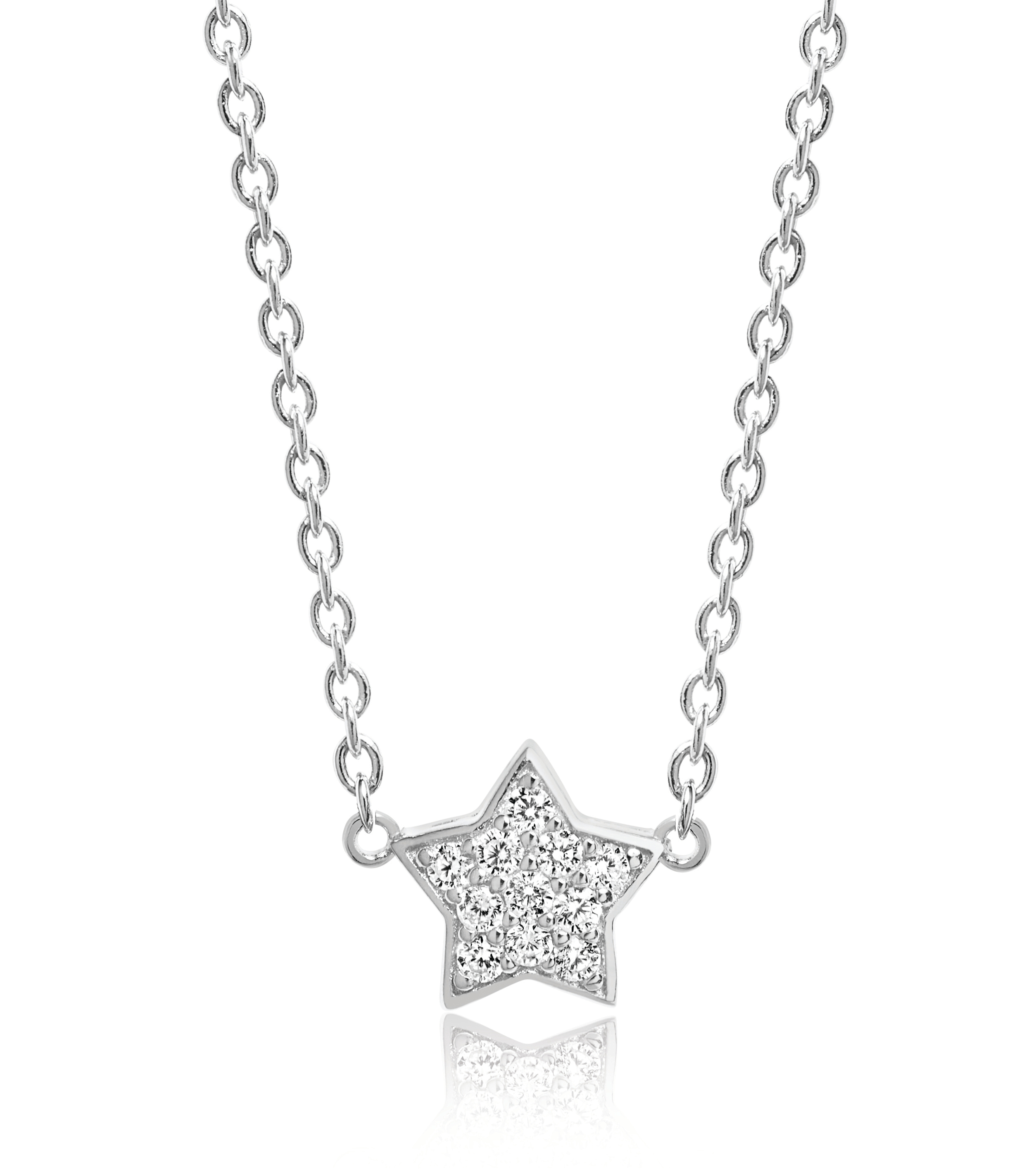 Silver cubic zirconia star necklace-Carats Jewellers