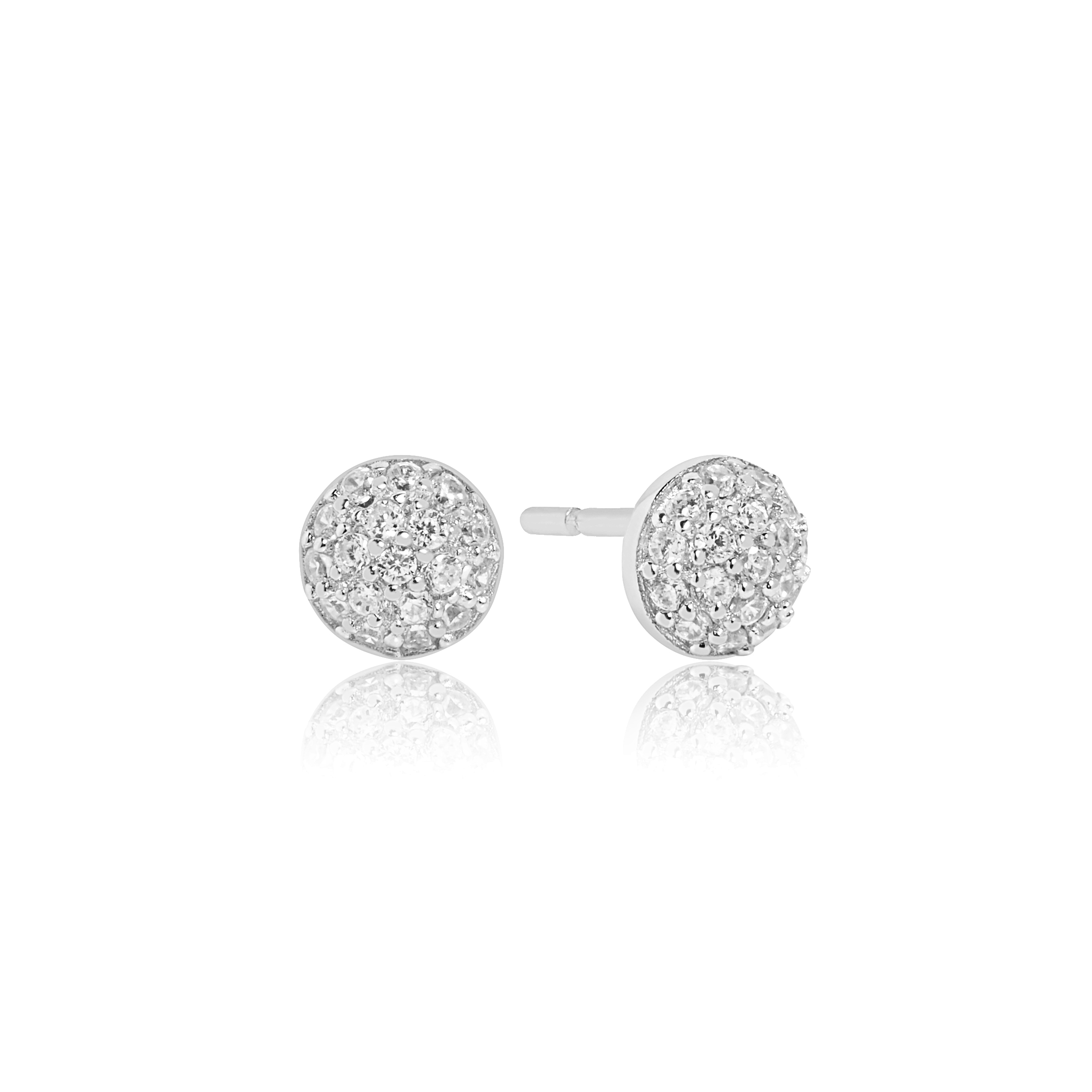 Silver pave set cubic zirconia Domed studs-Carats Jewellers