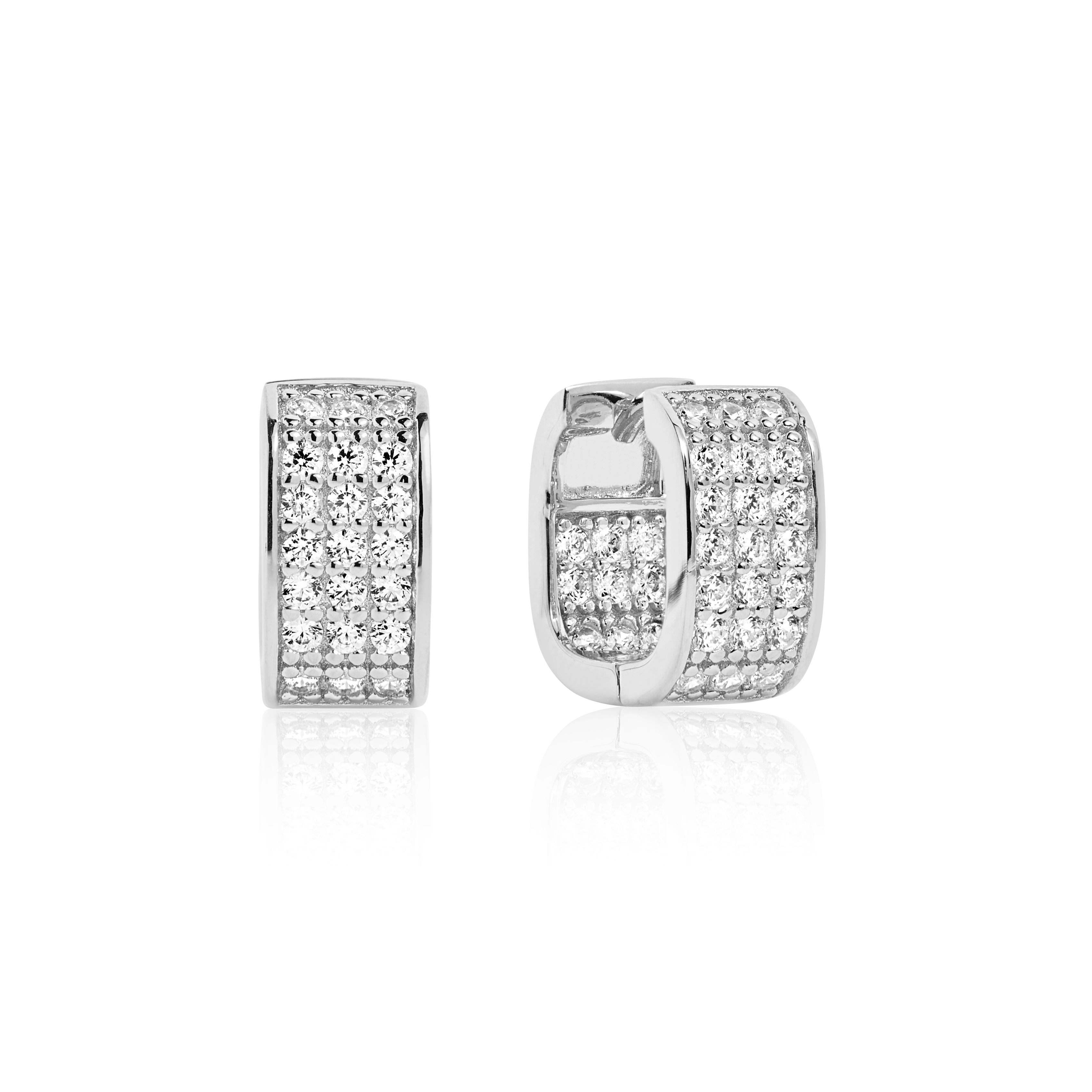 Silver with pave set cubic zirconia square click hoops-Carats Jewellers