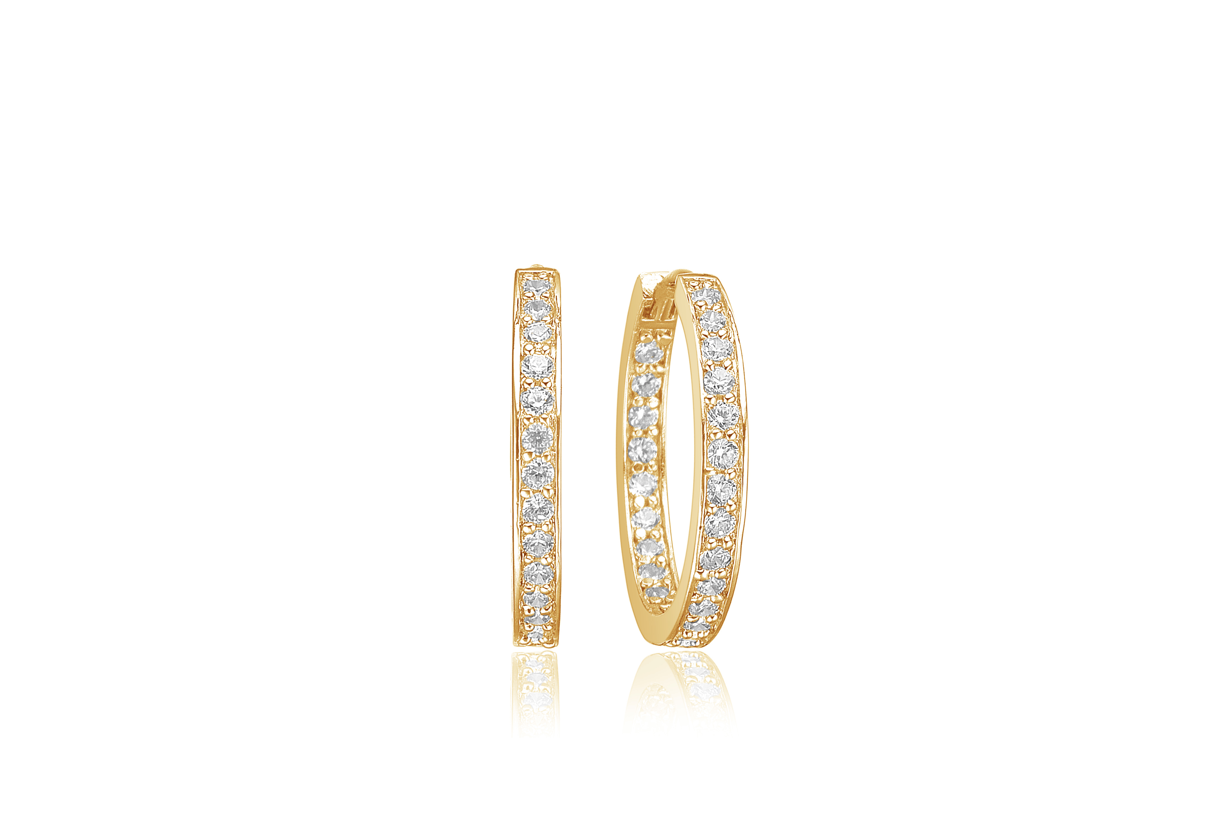 Gold plated silver CZ hoop earrings-Carats Jewellers