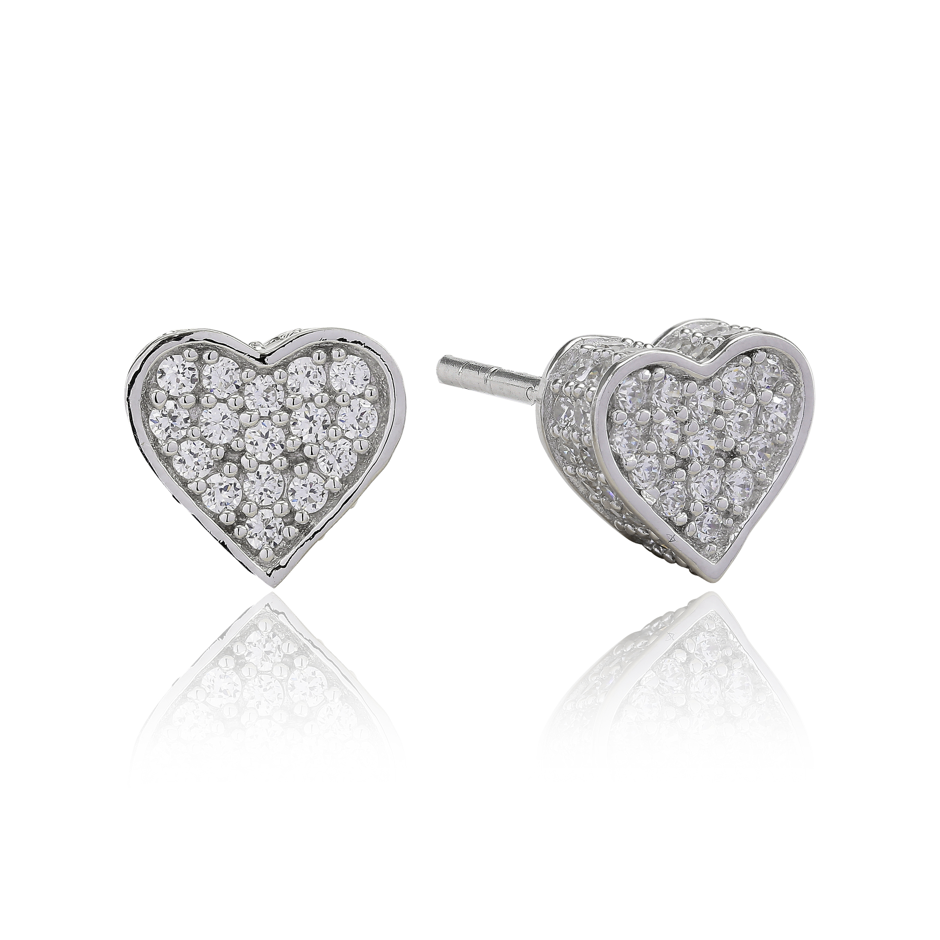 Silver with cubic zirconia heart shaped studs-Carats Jewellers