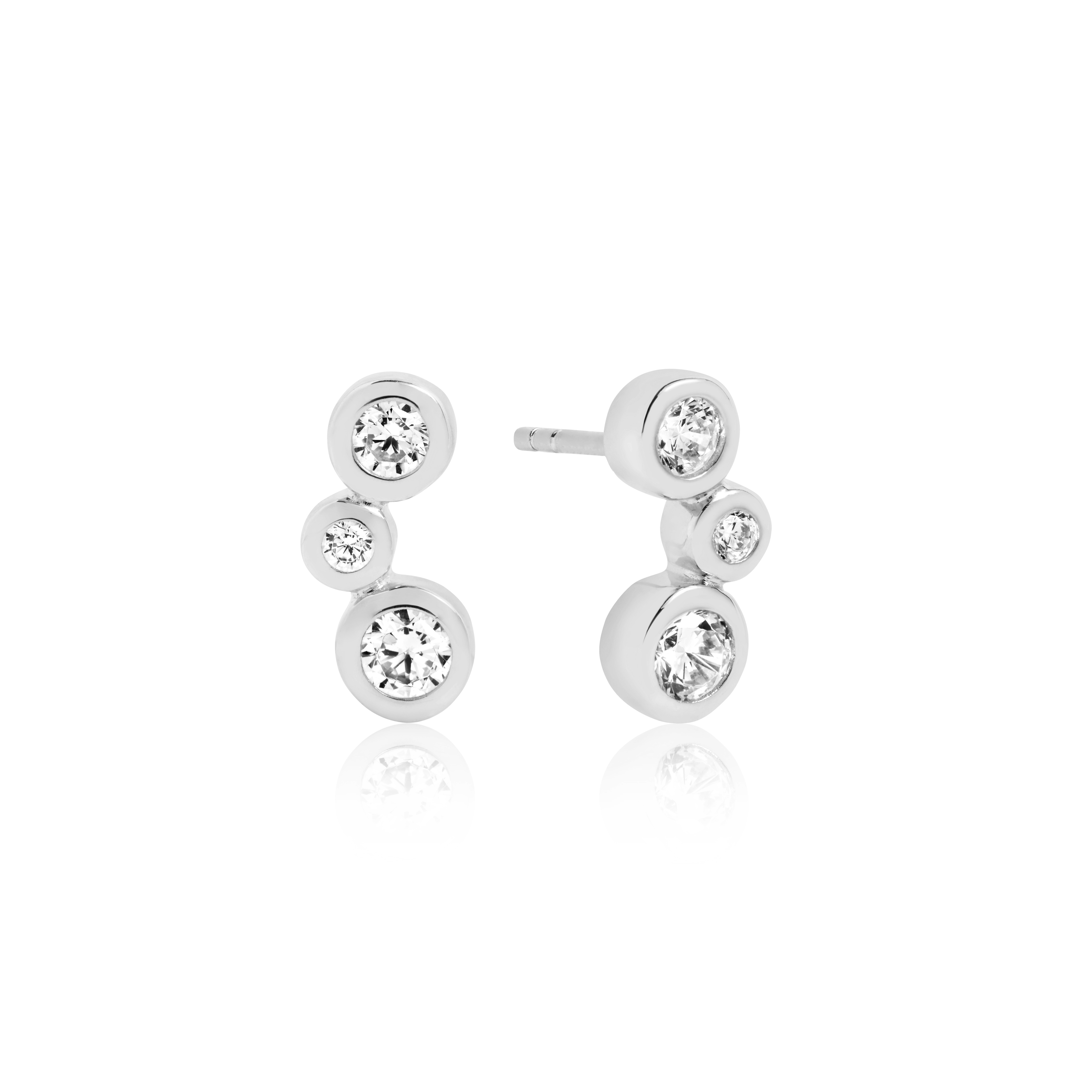 Silver Rubset cubic zirconia bubble studs-Carats Jewellers