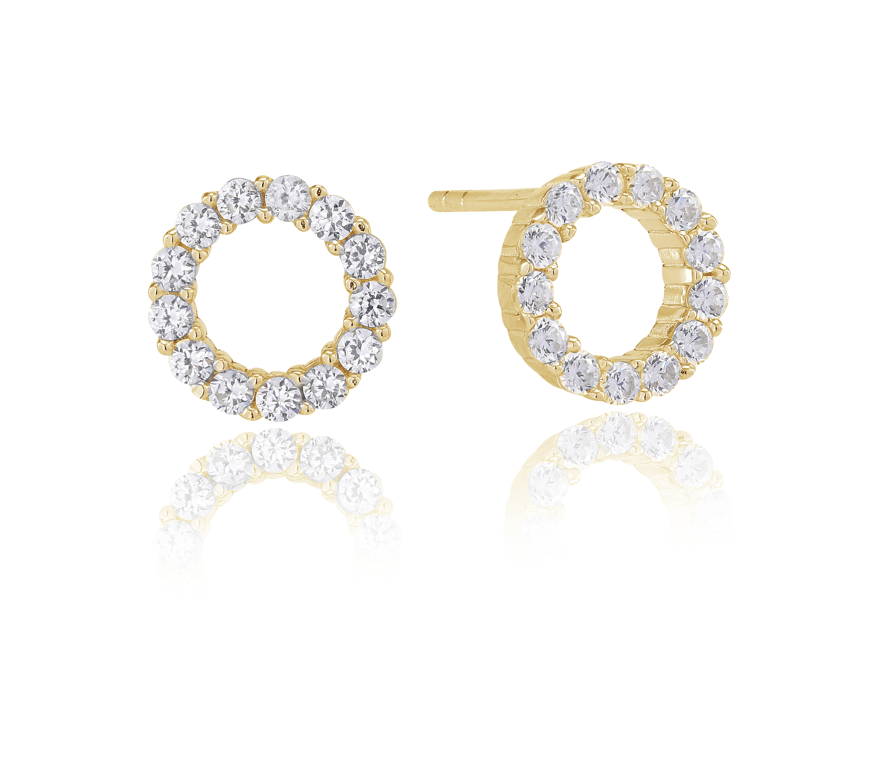 Gold plated CZ polo studs-Carats jewellers