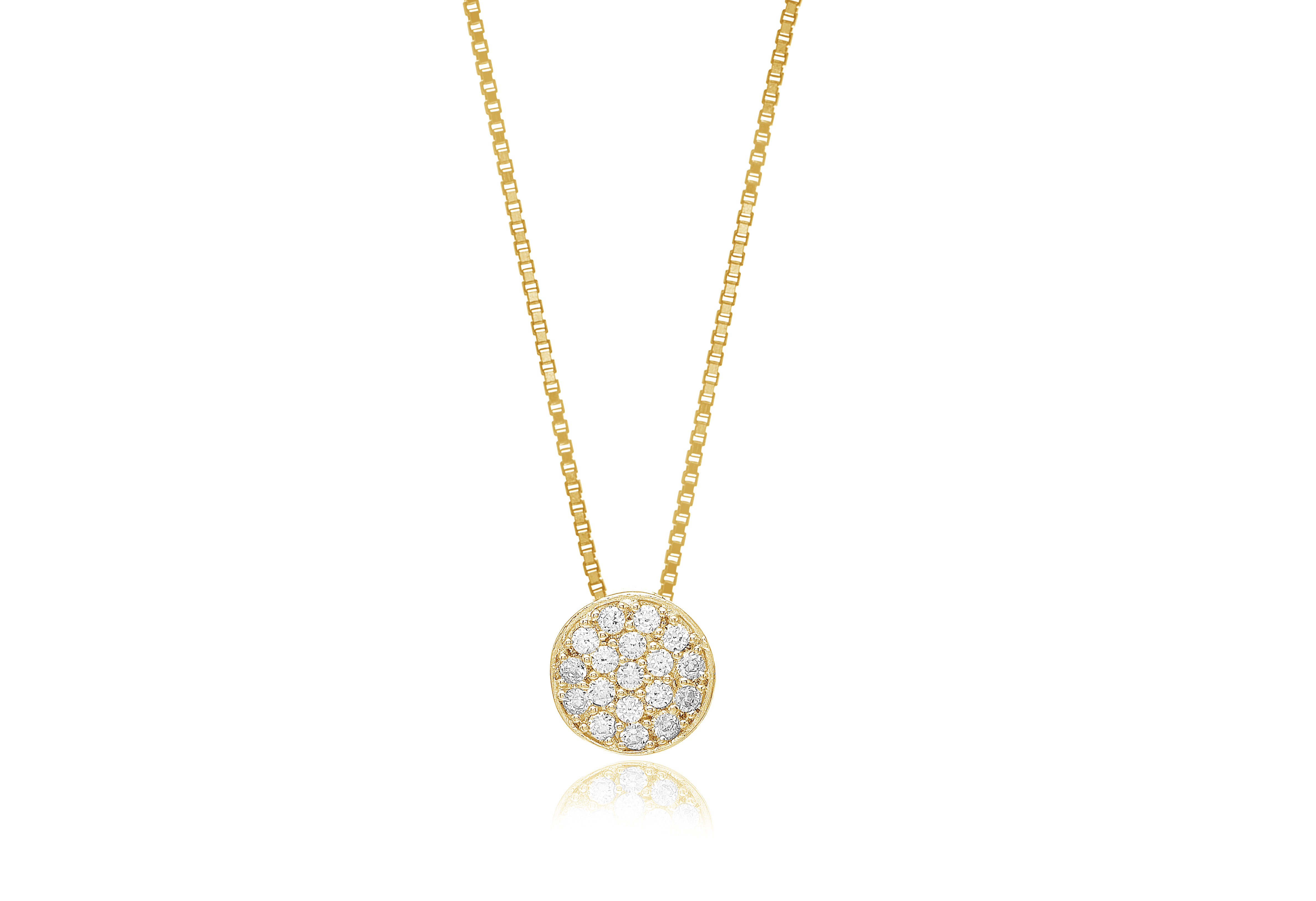 Gold plated silver pave set cubic zirconia necklace-Carats Jewellers
