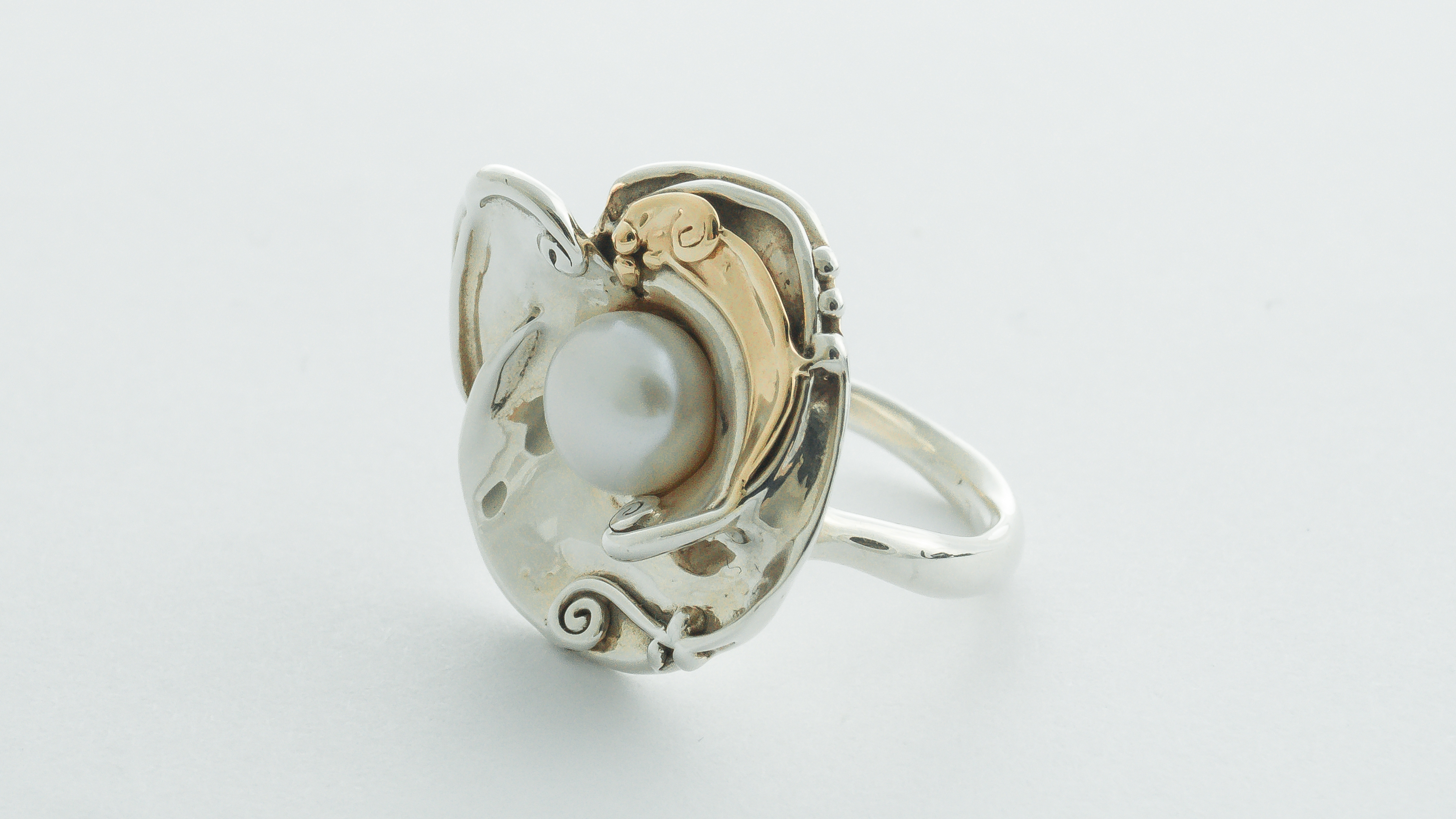 Silver Hagit Gorali ring with gold and freshwater pearl in Ipswich, Suffolk