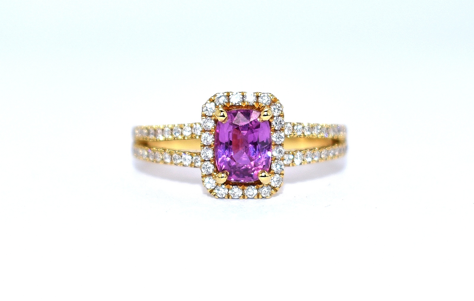 pink sapphire and diamond 18ct yellow gold cluster ring in Ipswich Suffolk