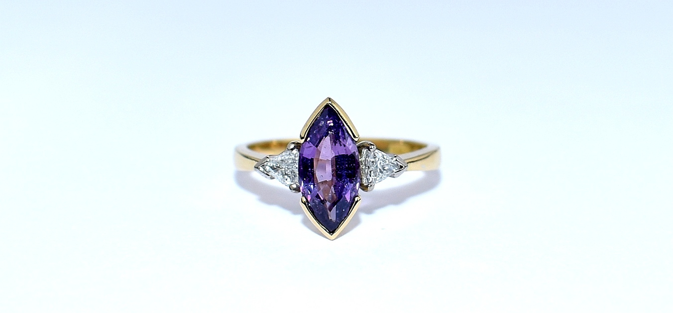 18ct yellow gold purple sapphire and diamond ring ipswich suffolk