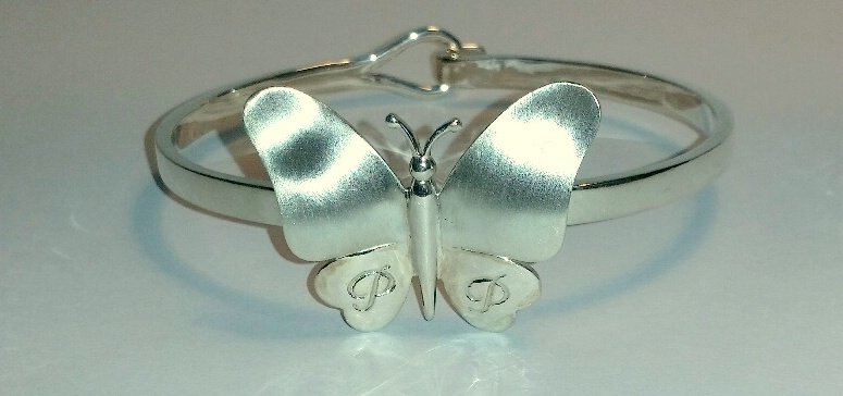 Silver handmade butterfly bangle