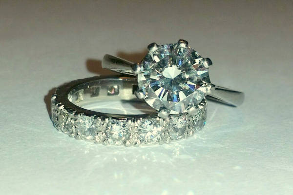 HANDMADE SINGLE DIAMOND RING AND FULL DIAMOND ETERNITY